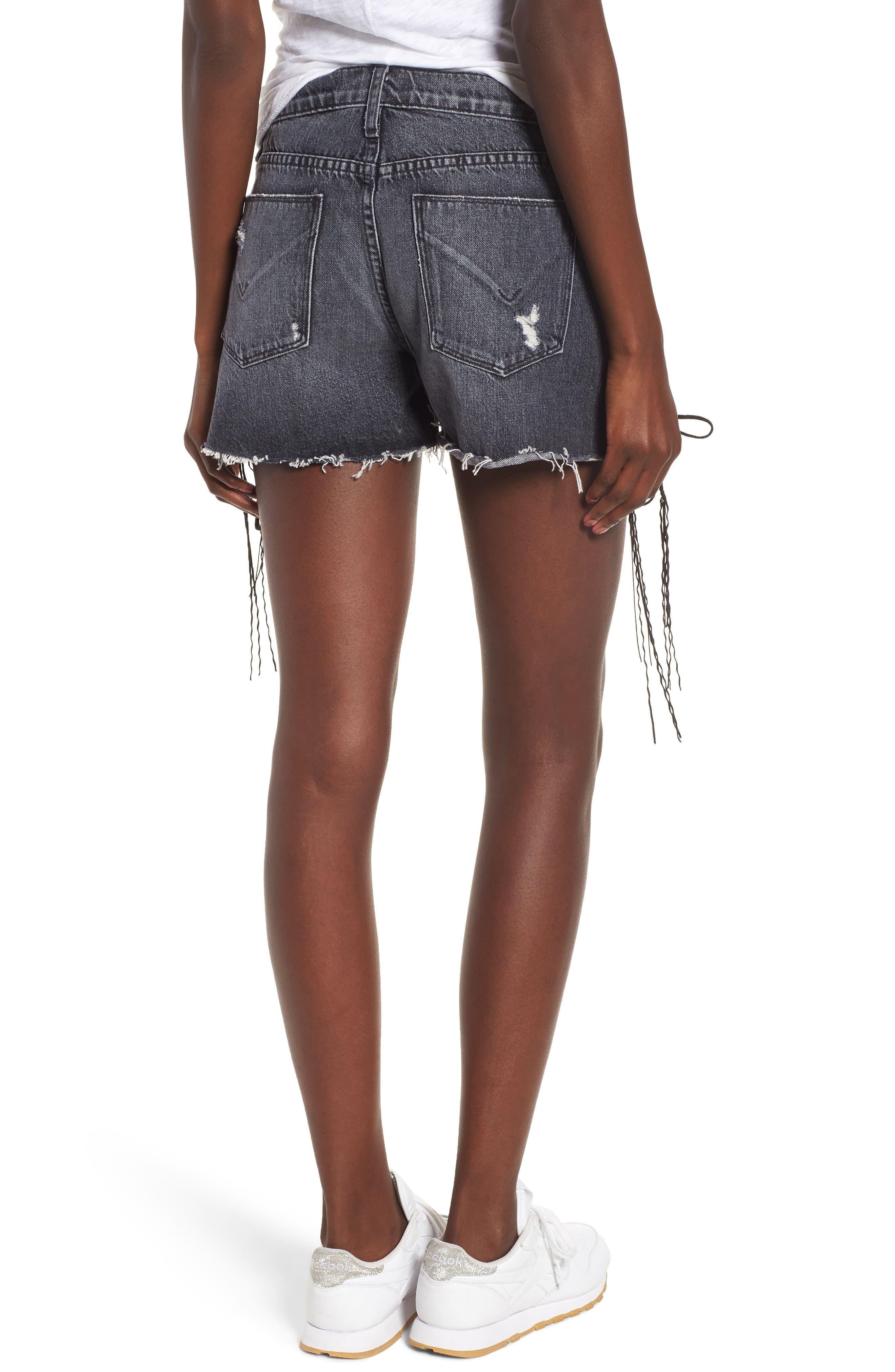 Sade Lace-Up Cutoff Denim Shorts,                             Alternate thumbnail 2, color,                             001