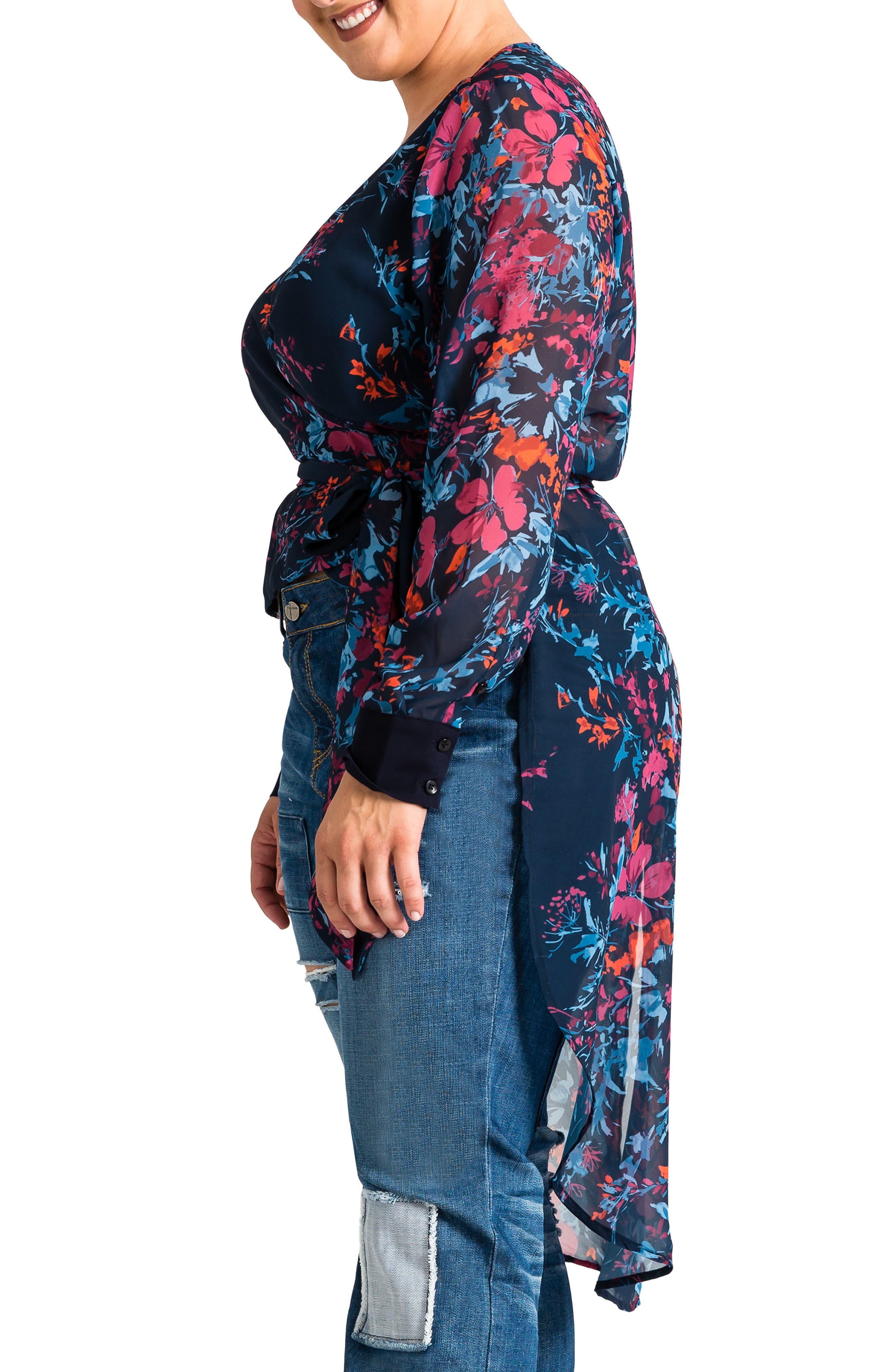 Haliyah High/Low Wrap Top,                             Alternate thumbnail 3, color,                             FLORAL PRINT