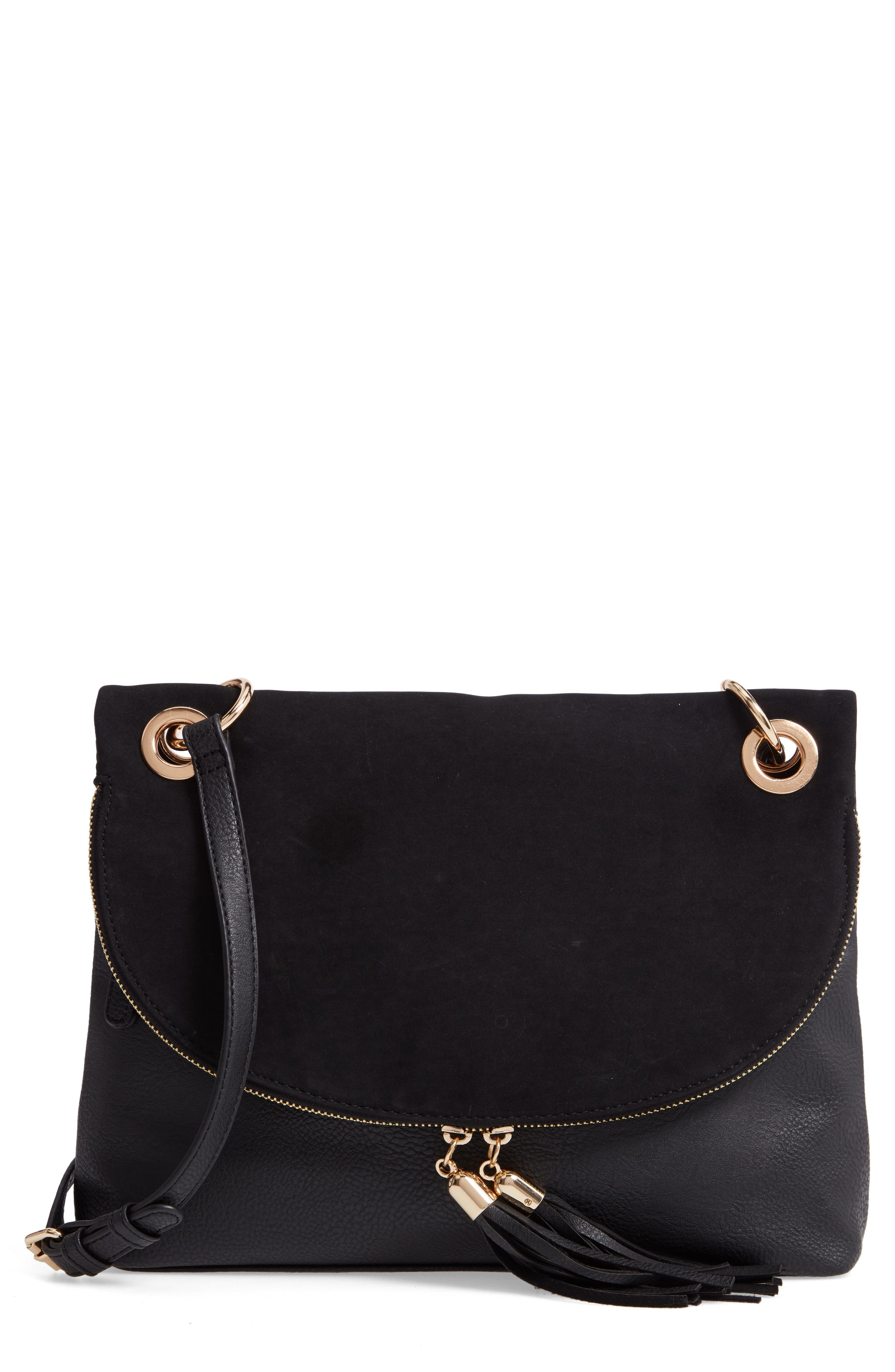 Faux Leather Foldover Tassel Crossbody Bag,                             Main thumbnail 1, color,                             BLACK
