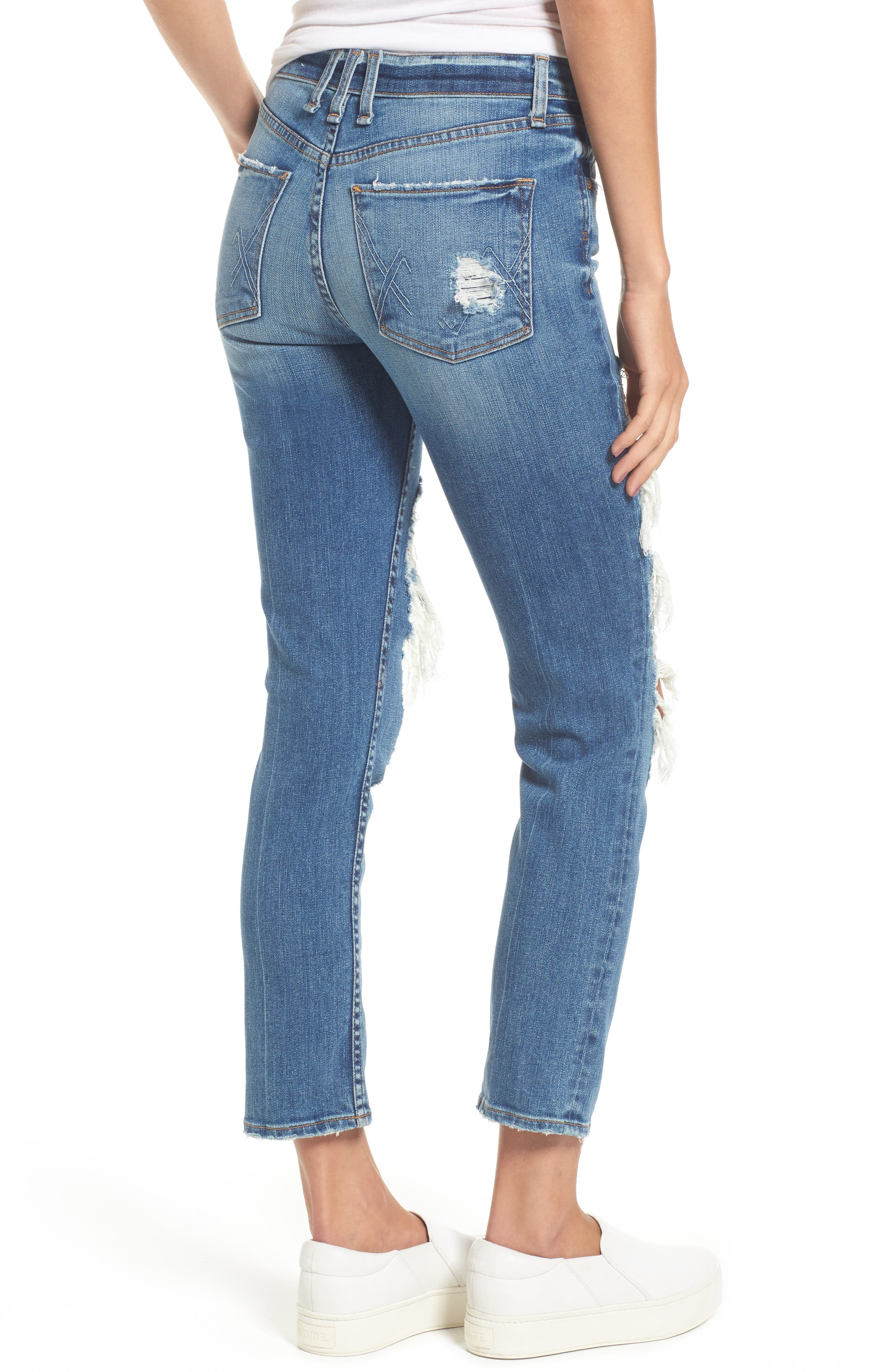 Windsor Destroyed High Waist Straight Leg Jeans,                             Alternate thumbnail 4, color,