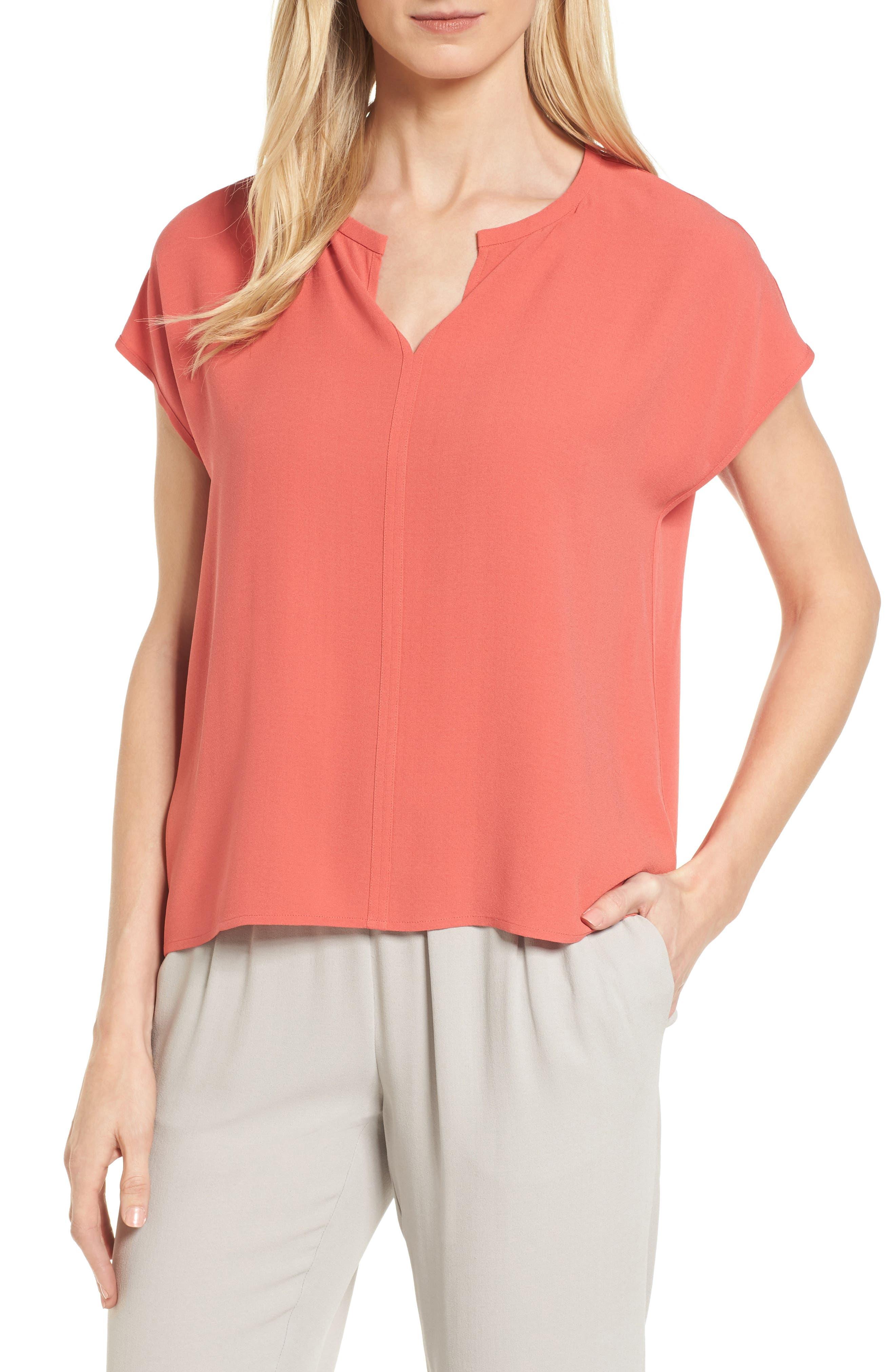 Split Neck Silk Shirt,                             Main thumbnail 3, color,