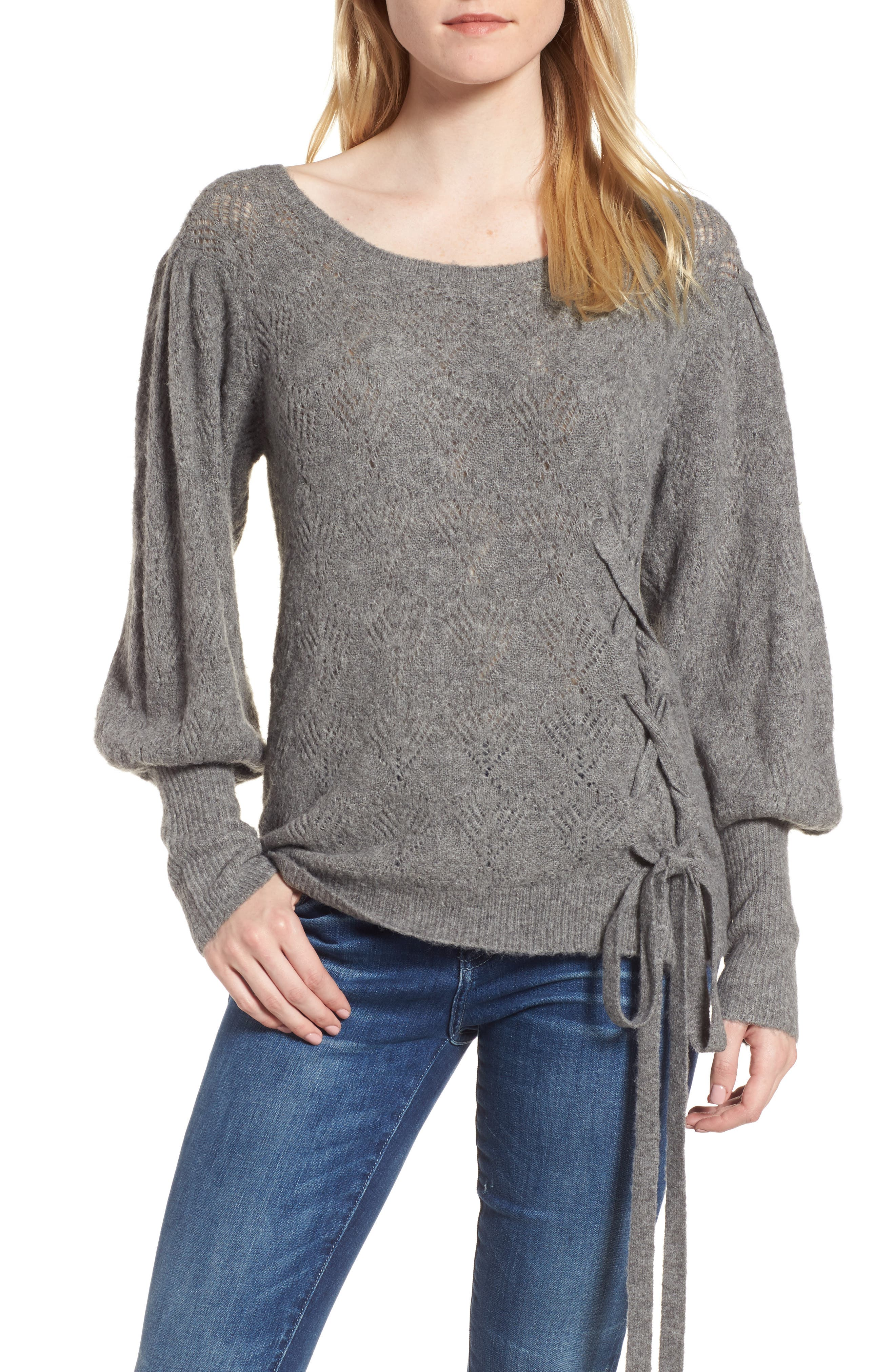 Tied Pointelle Knit Sweater,                         Main,                         color,