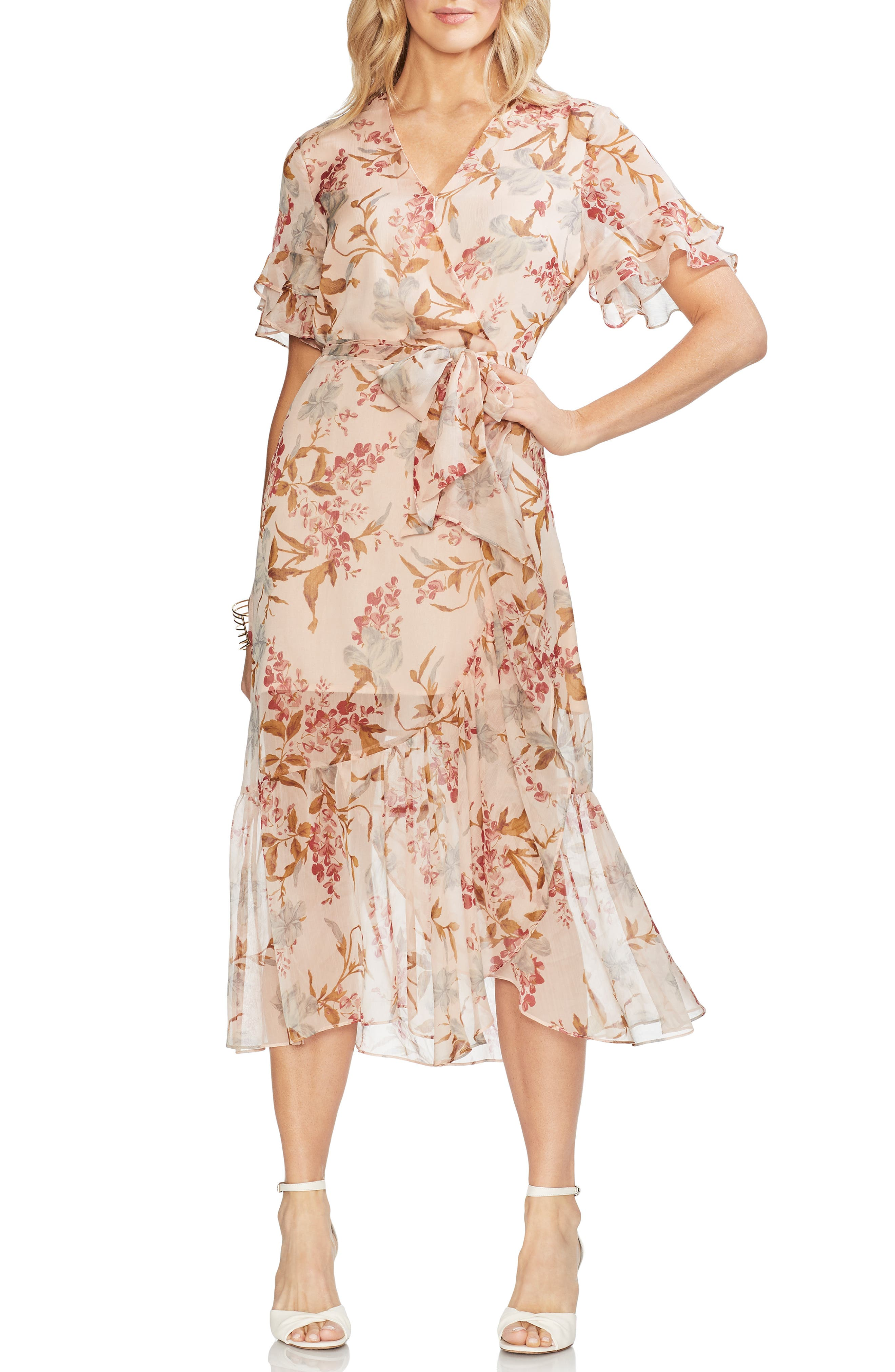 1930s Dresses | 30s Art Deco Dress Womens Vince Camuto Wildflower Tiered Ruffle Chiffon Dress Size 8 - Pink $159.00 AT vintagedancer.com