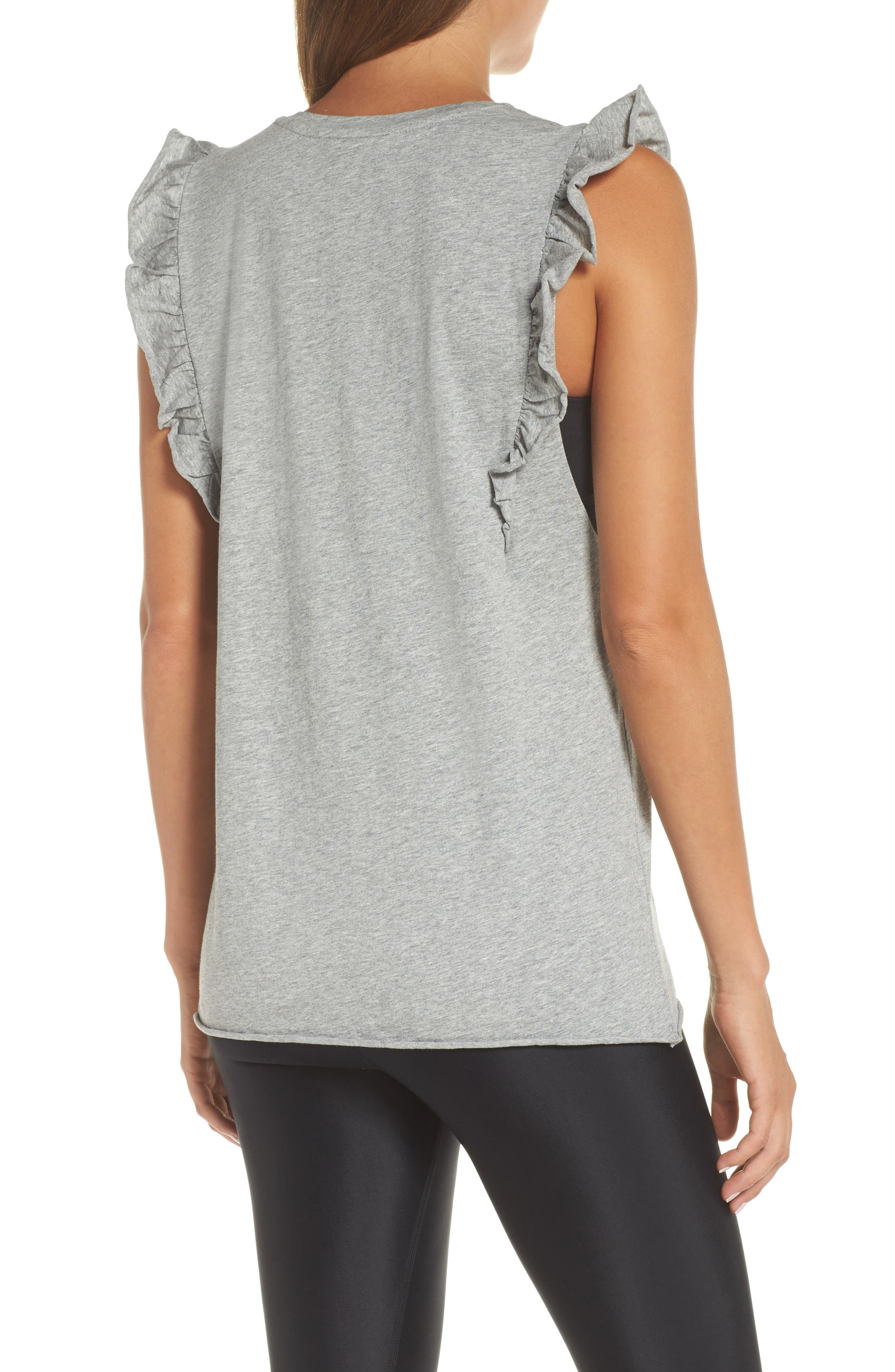 Frill Muscle Tank,                             Alternate thumbnail 2, color,                             GREY MARLE