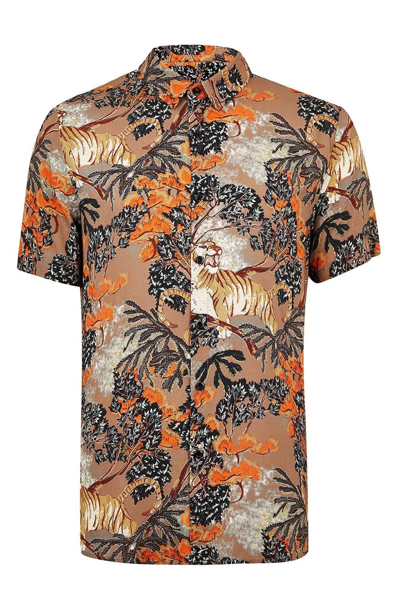 Suburb Tiger Print Shirt,                             Alternate thumbnail 5, color,                             ORANGE MULTI
