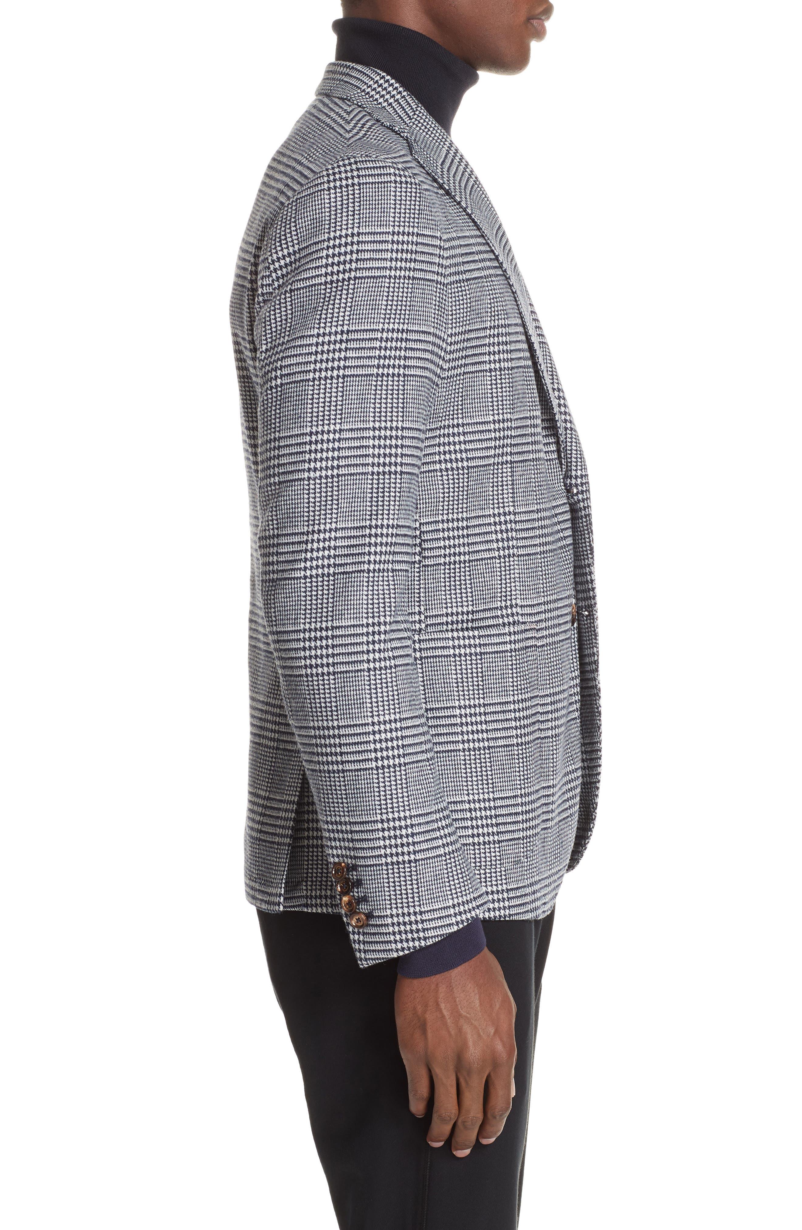 Trim Fit Plaid Stretch Wool Blend Sport Coat,                             Alternate thumbnail 3, color,                             NAVY