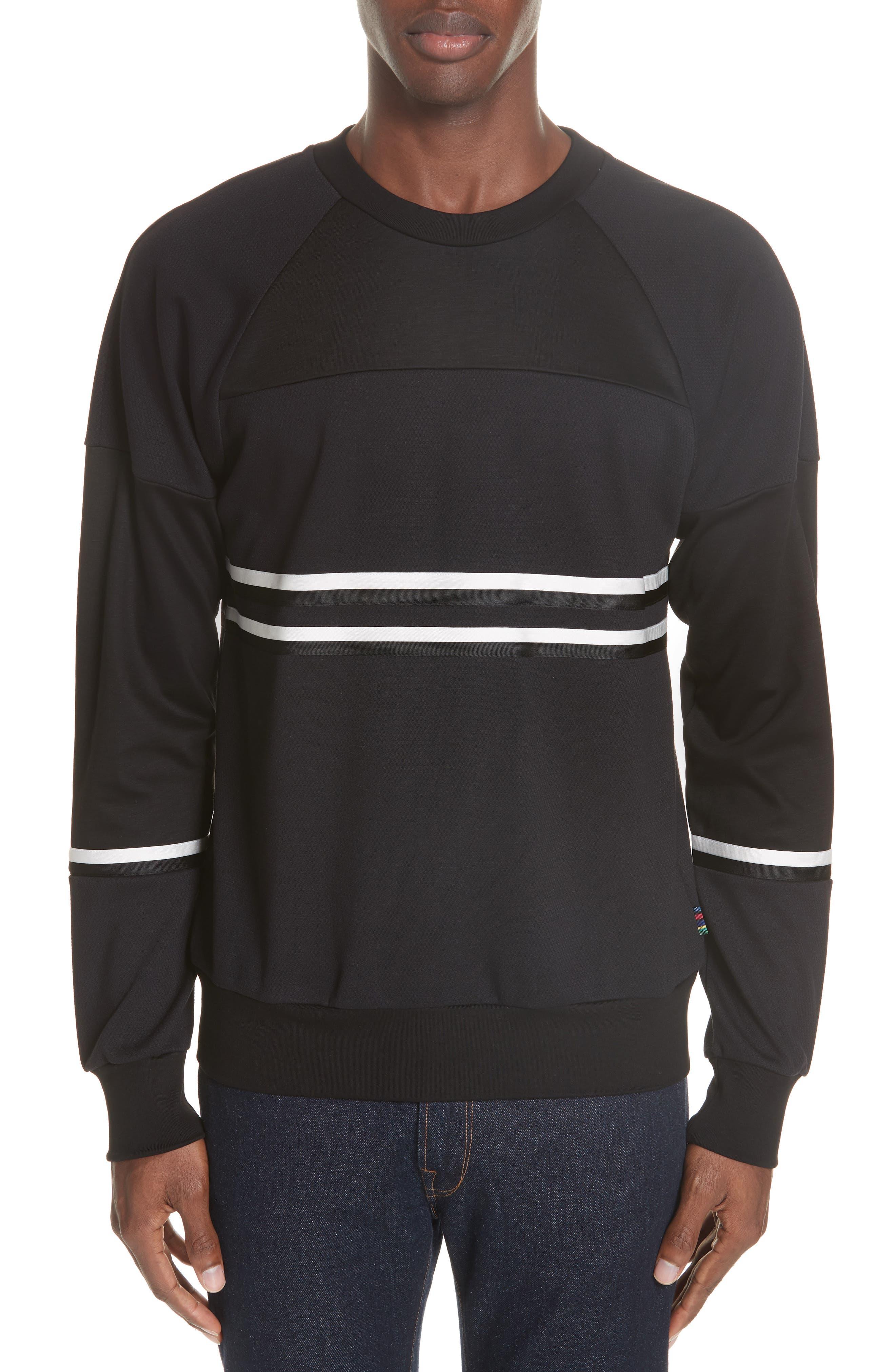Stripe Trim Sweatshirt,                             Main thumbnail 1, color,                             001