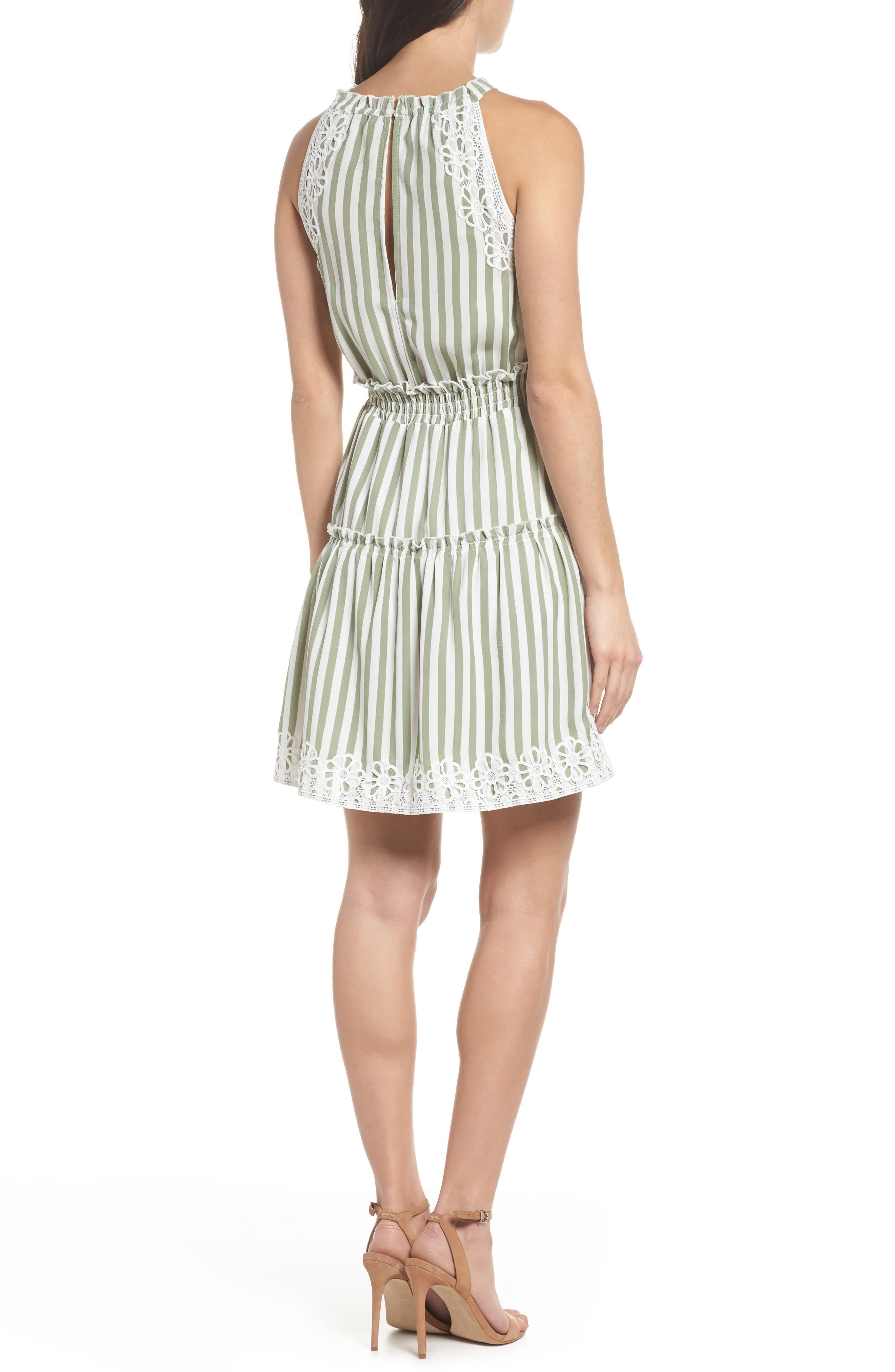 Lauren Stripe Sleeveless Fit & Flare Dress,                             Alternate thumbnail 2, color,                             341