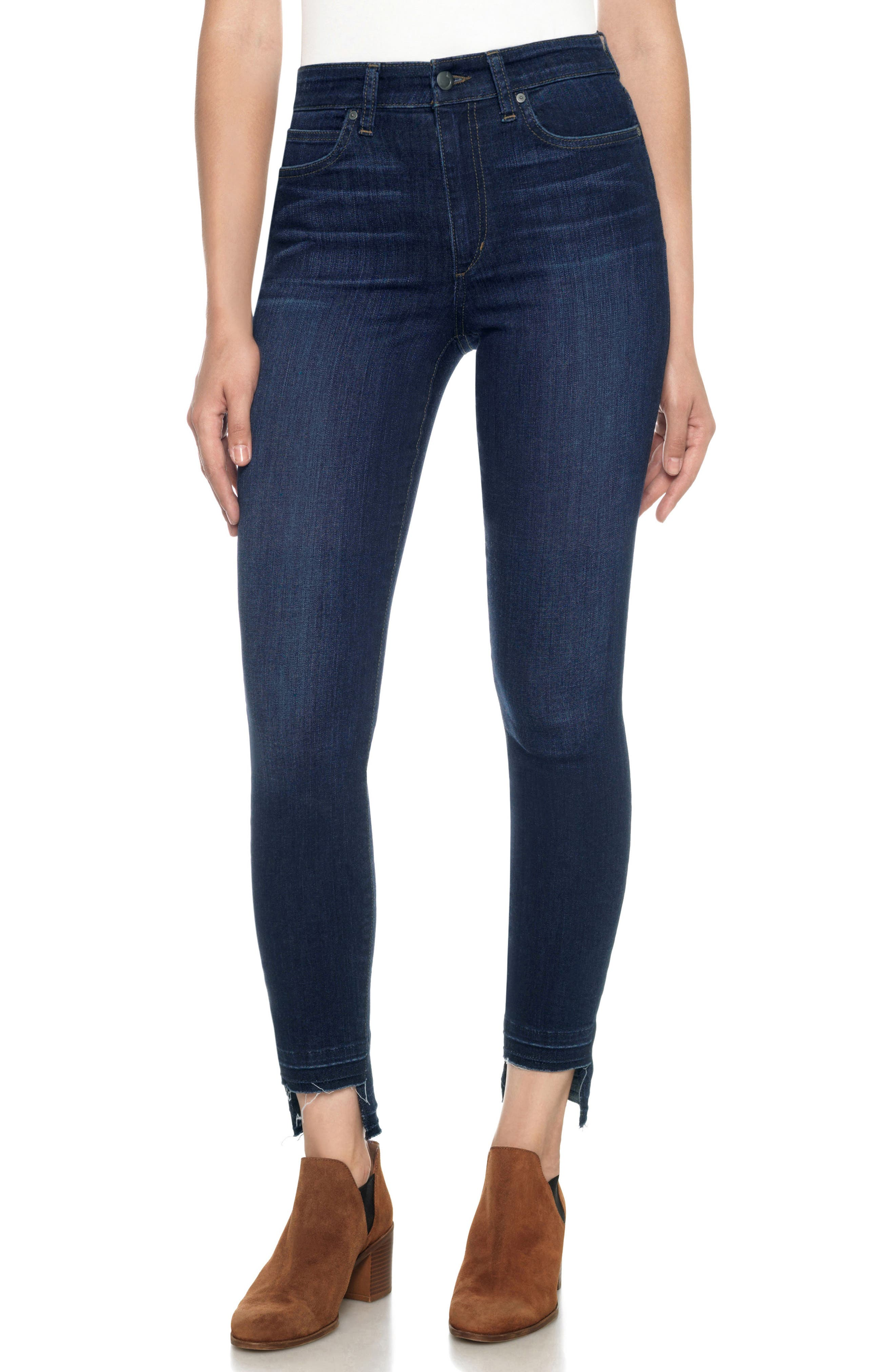 Flawless - Charlie High Waist Step Hem Ankle Skinny Jeans,                             Main thumbnail 1, color,                             401