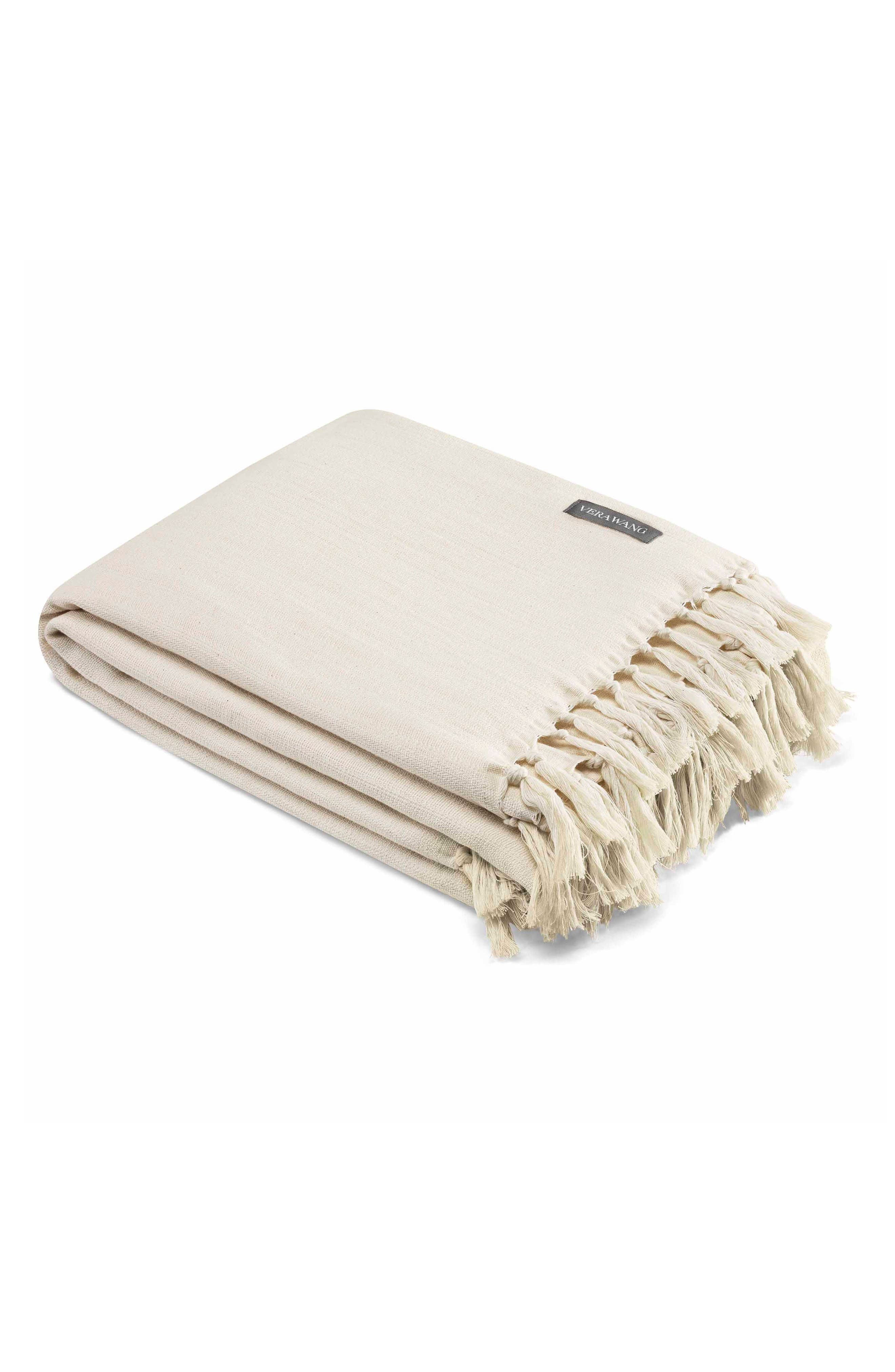 Fringe Cotton Twill Throw, Main, color, NATURAL
