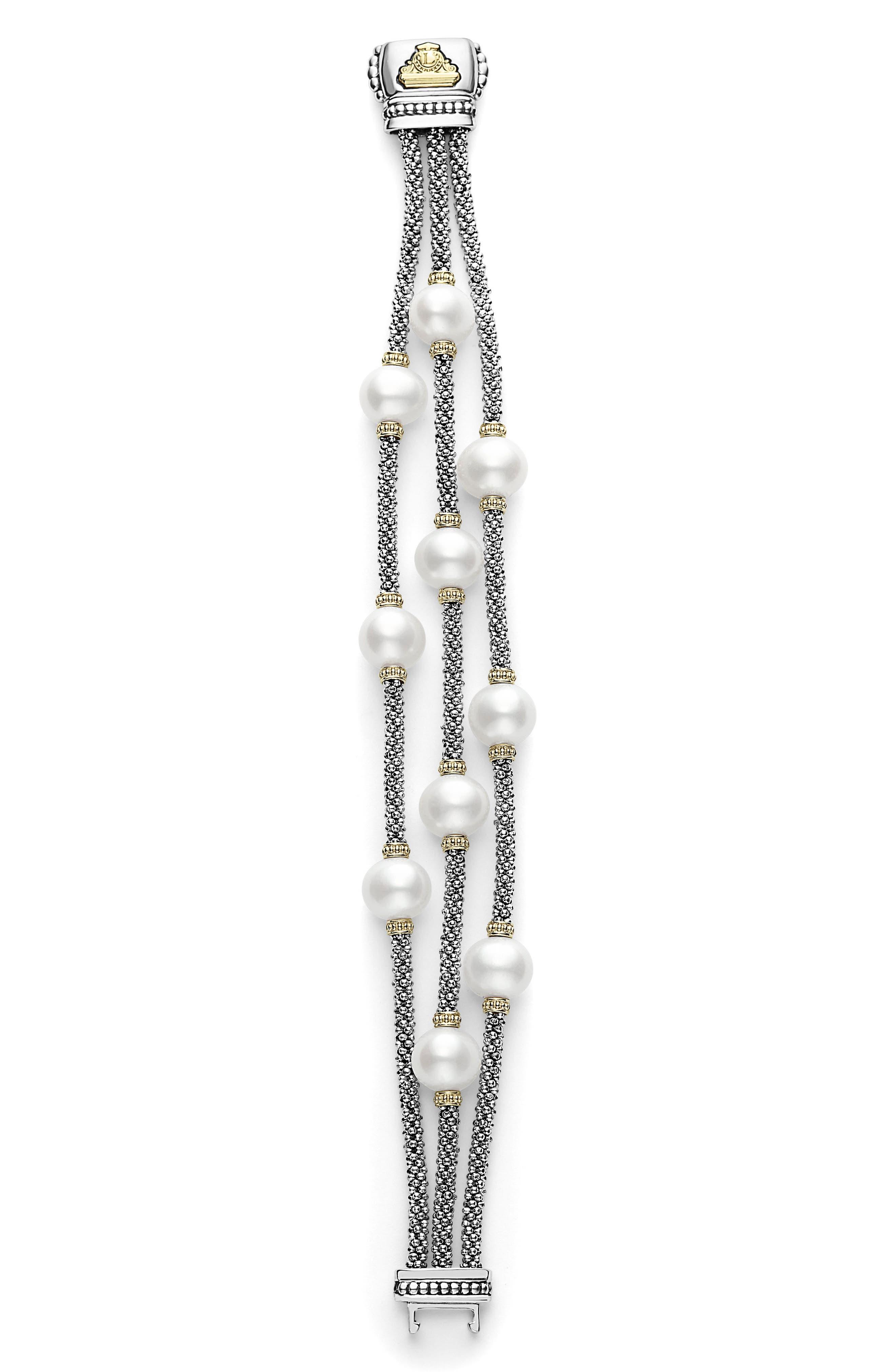 Luna Pearl Caviar Multistrand Bracelet,                             Alternate thumbnail 4, color,