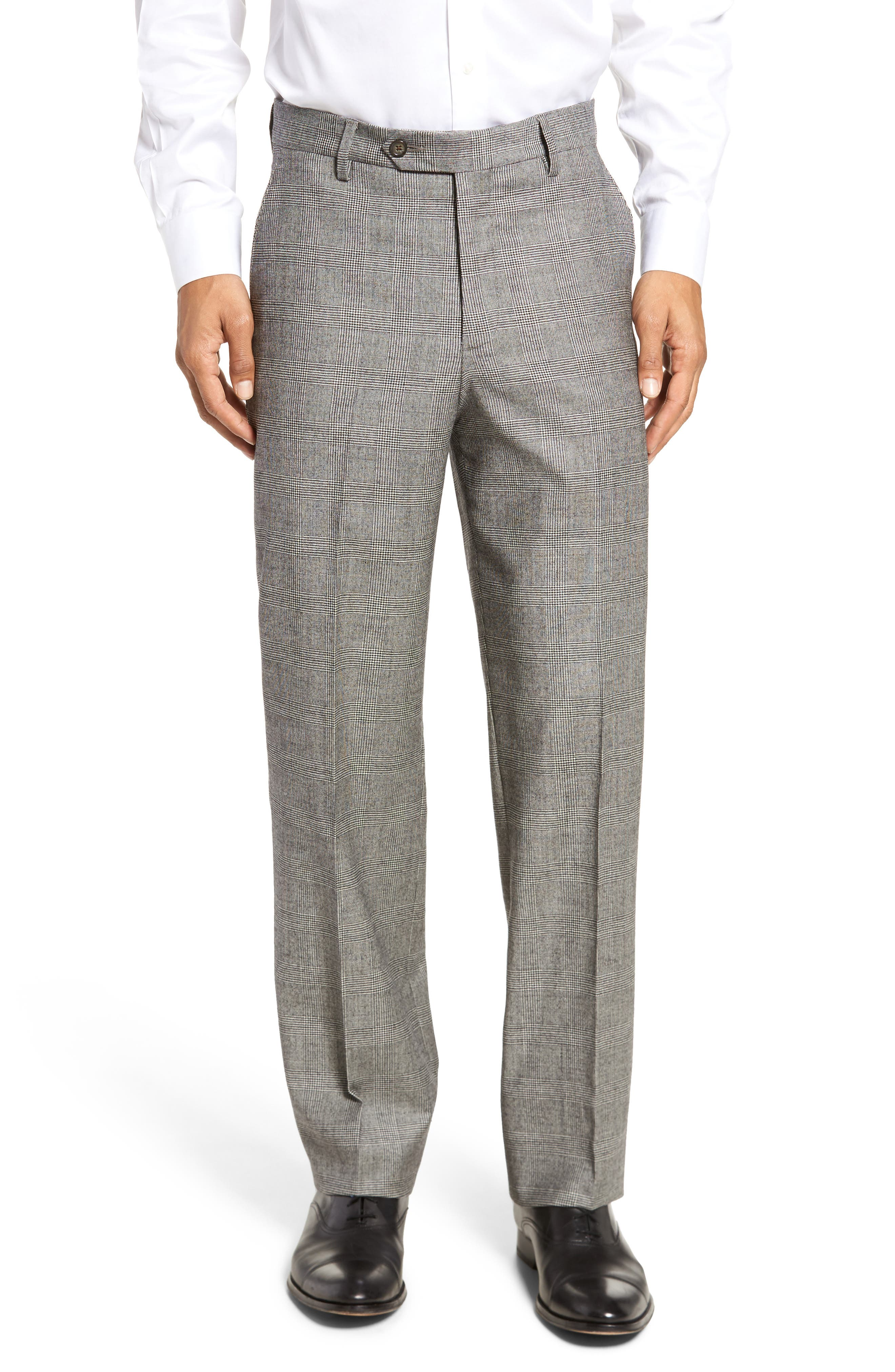 Flat Front Stretch Plaid Wool Trousers,                         Main,                         color, BLACK/ WHITE