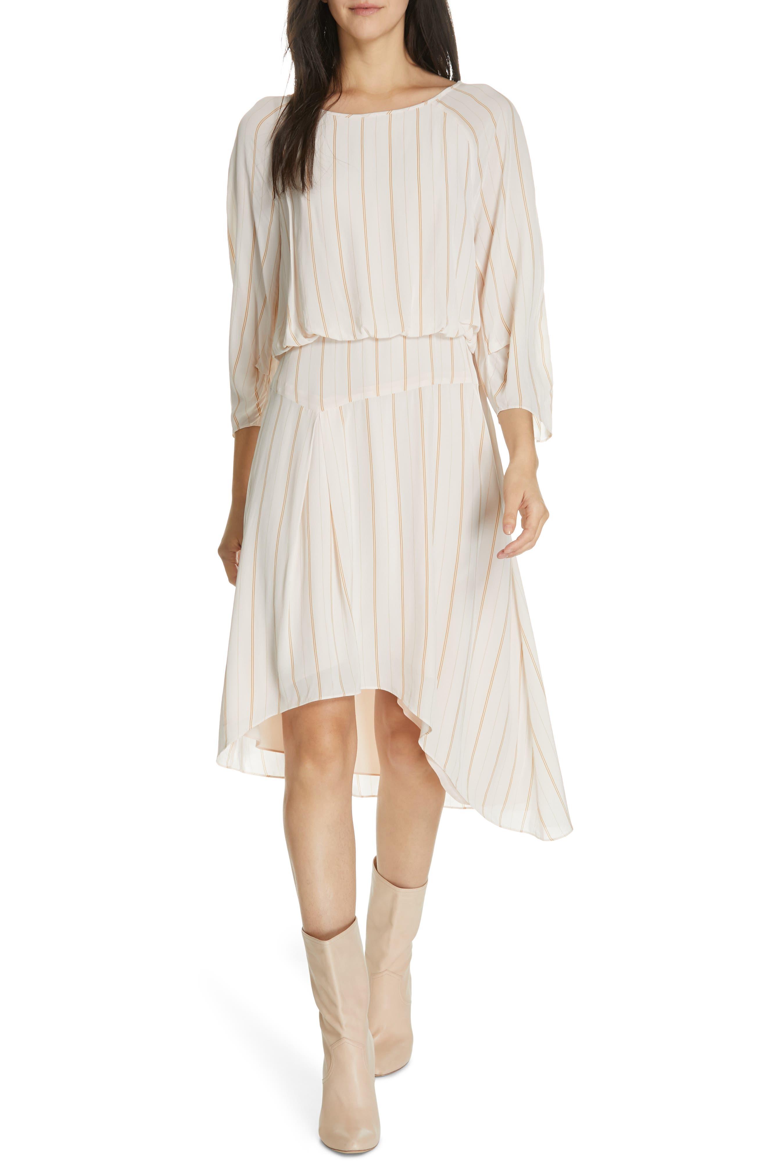 Joie Gabisa Stripe Blouson Dress, Ivory