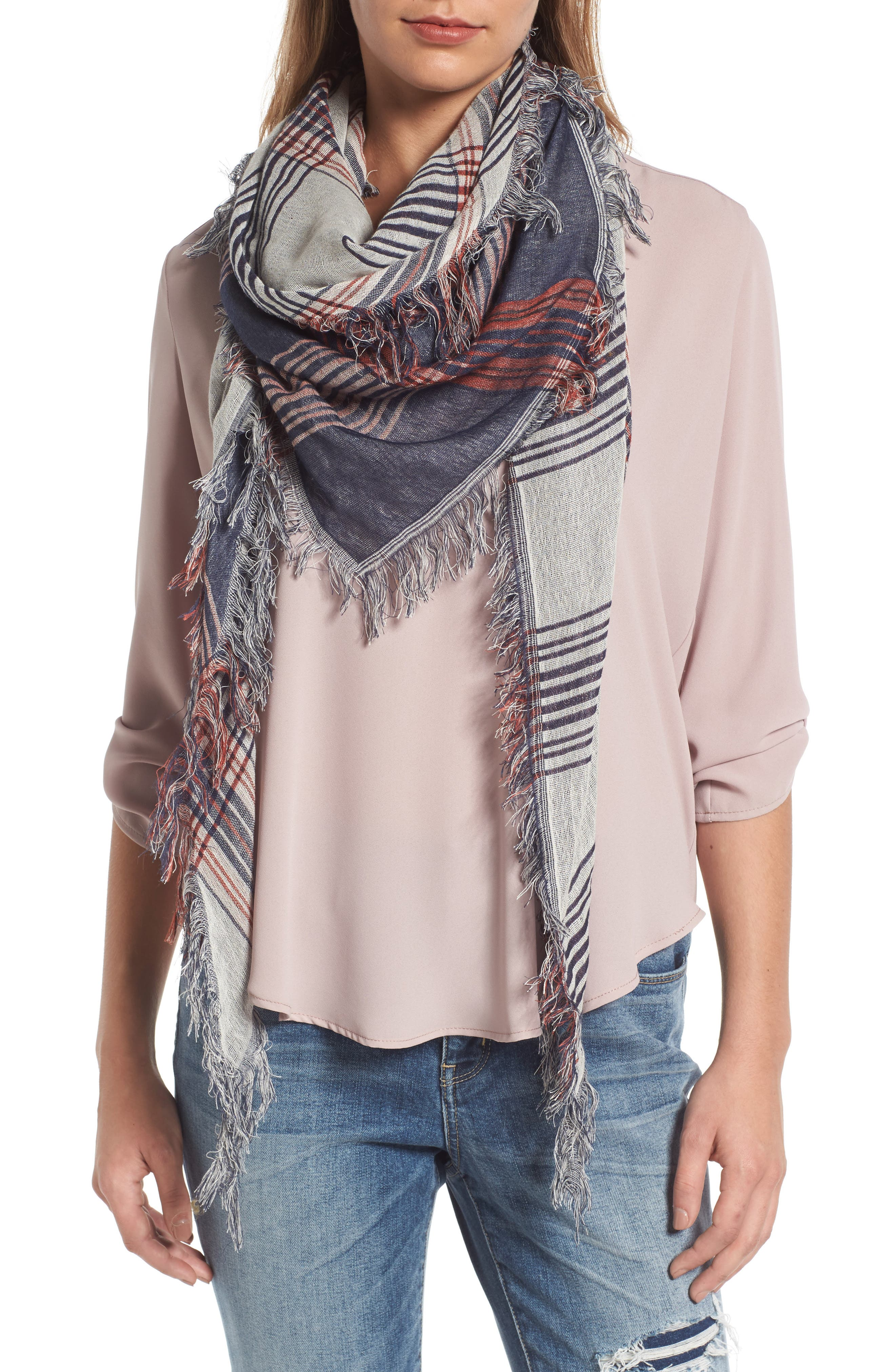 BP Dual Plaid Triangle Scarf,                         Main,                         color, NAVY/IVORY