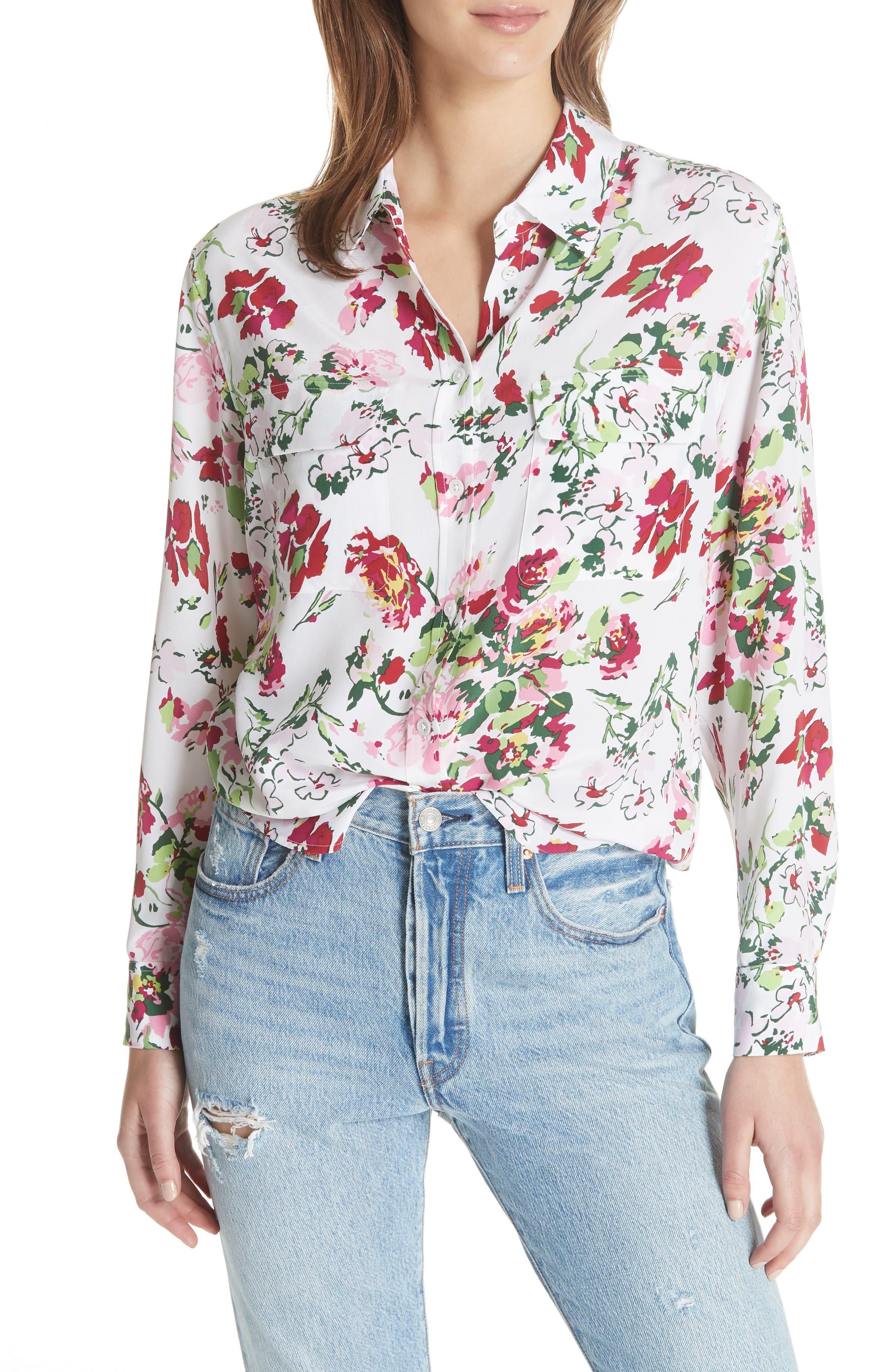 Signature Floral Silk Shirt,                             Main thumbnail 1, color,                             BRIGHT WHITE MULTI