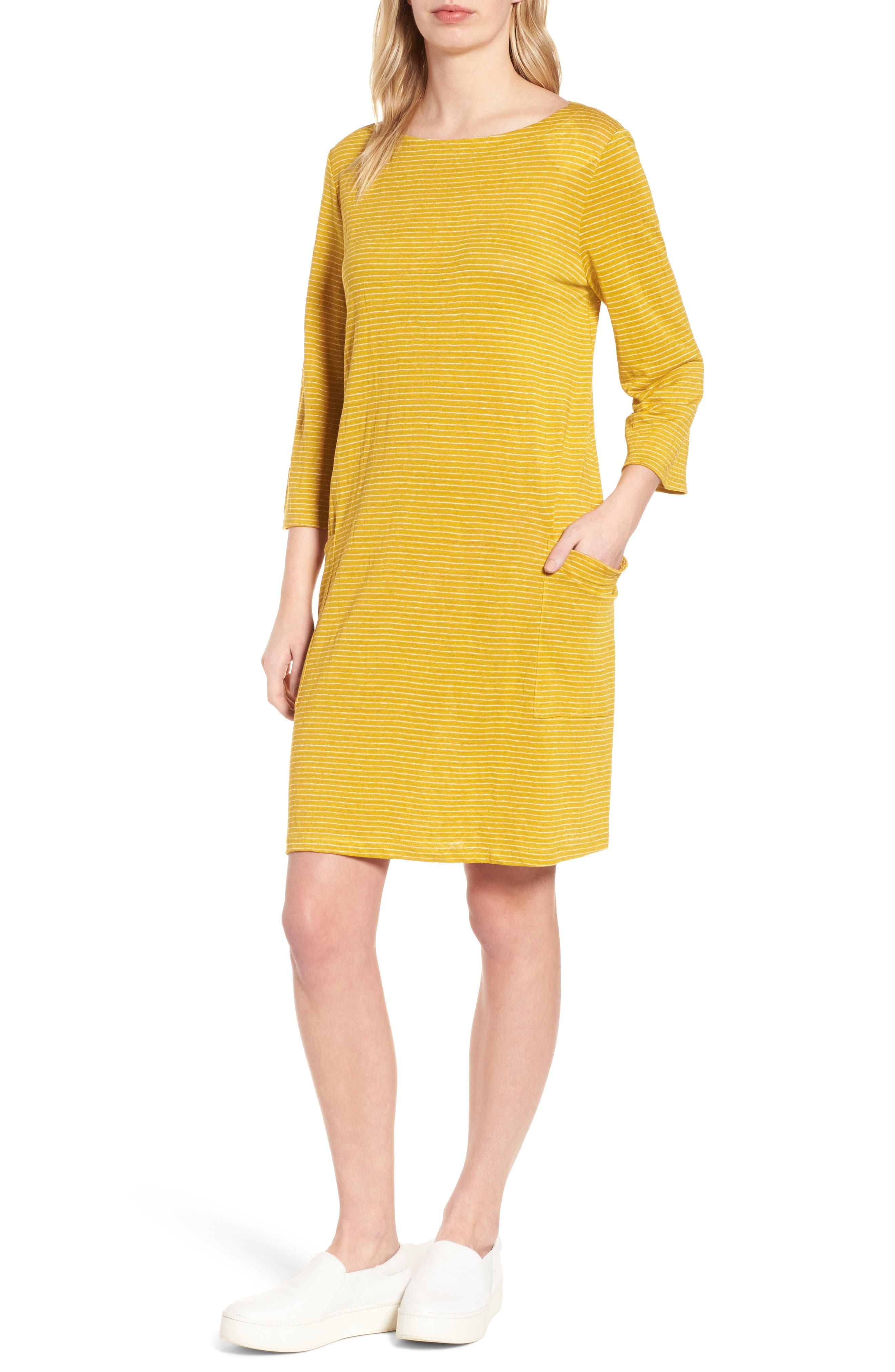 Organic Linen Shift Dress,                             Main thumbnail 3, color,