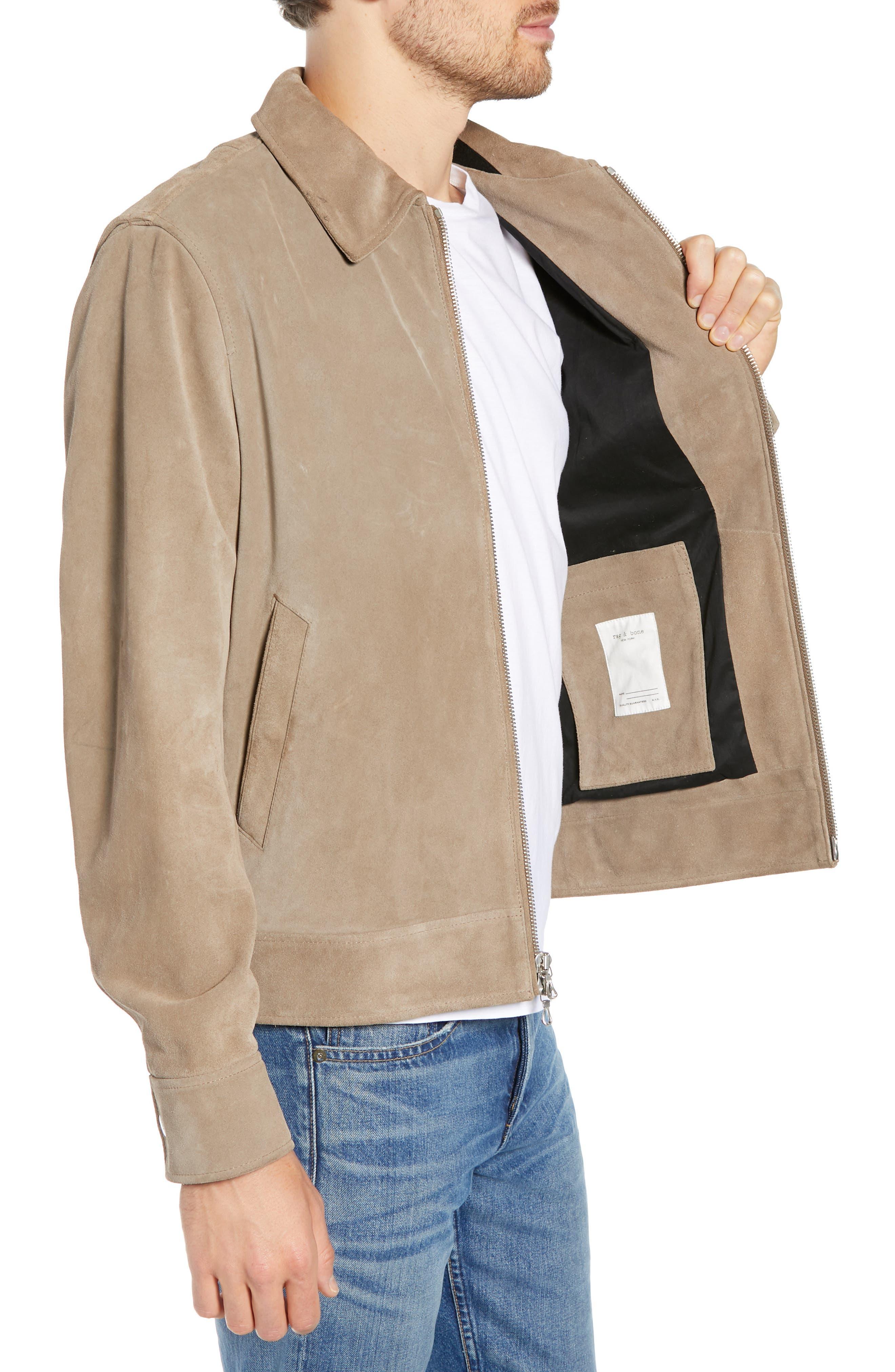 RAG & BONE,                             Regular Fit Suede Garage Jacket,                             Alternate thumbnail 3, color,                             CEMENT