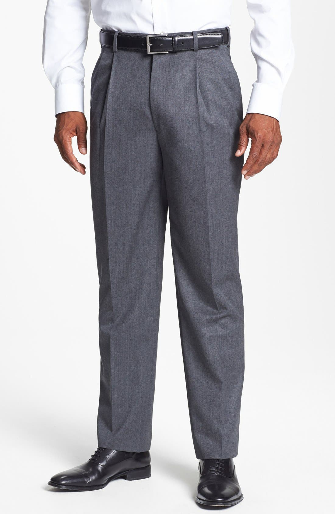 Pleated Super 100s Worsted Wool Trousers,                             Main thumbnail 7, color,
