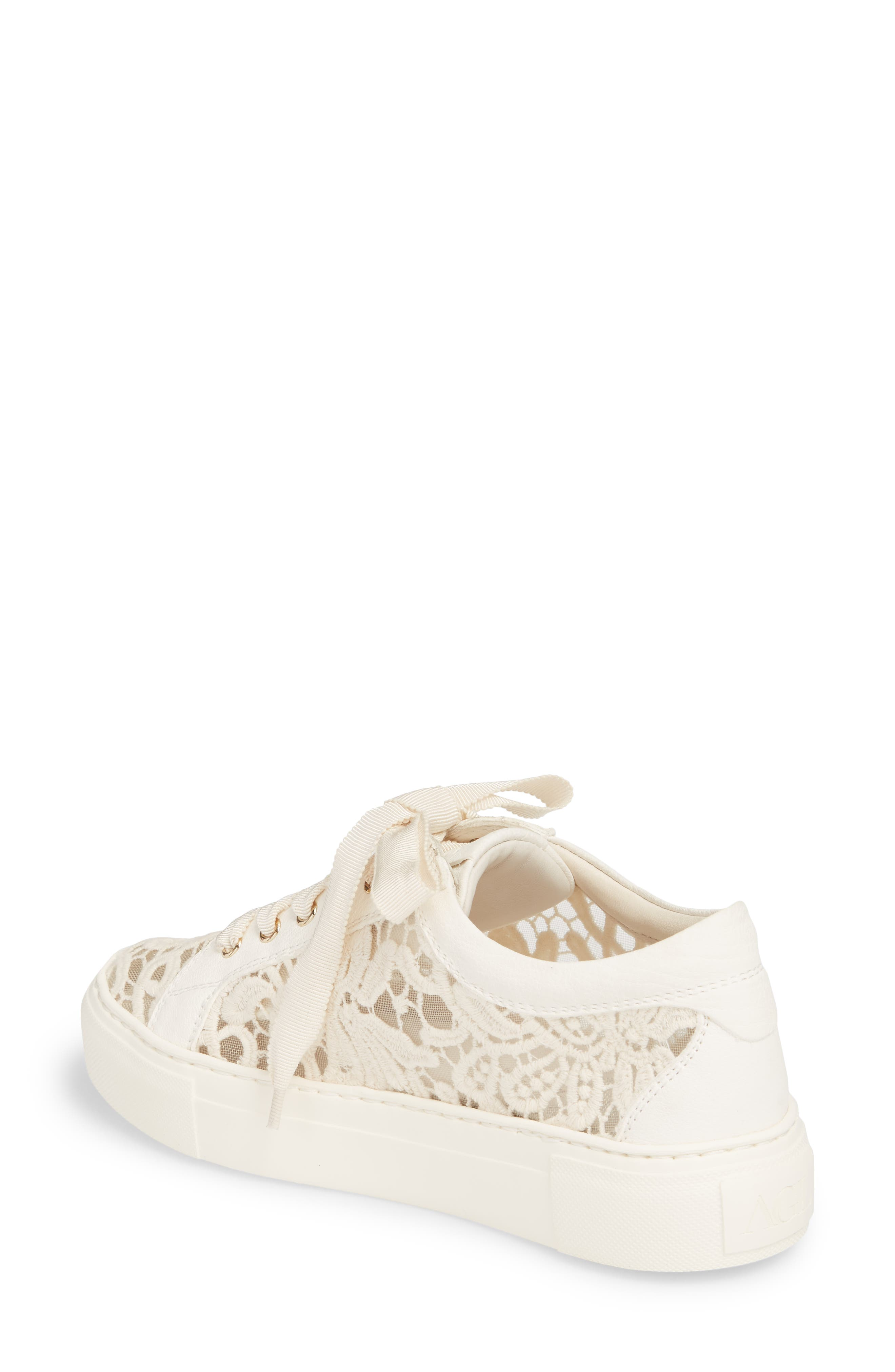 Embroidered Lace Sneaker,                             Alternate thumbnail 2, color,                             OFF WHITE LEATHER