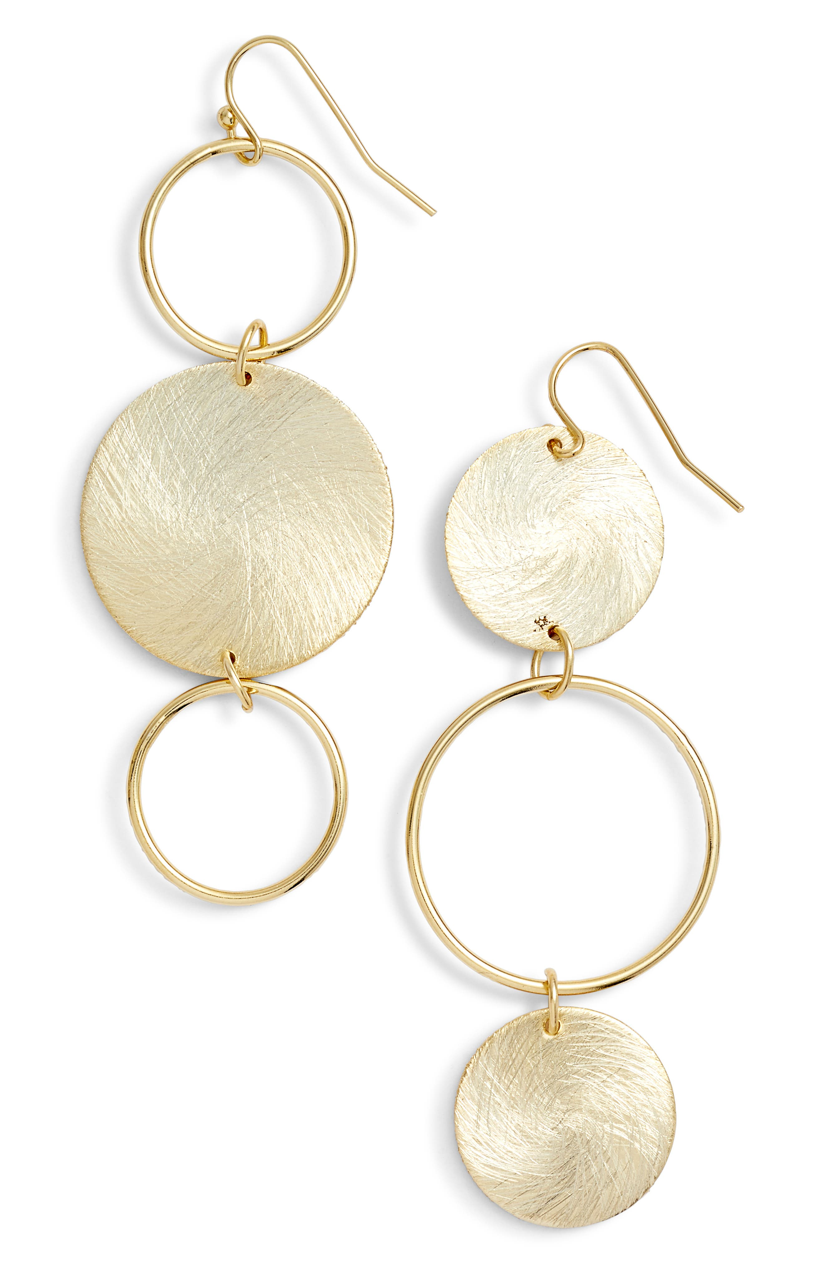 Brushed Disc Linear Earrings,                             Main thumbnail 2, color,