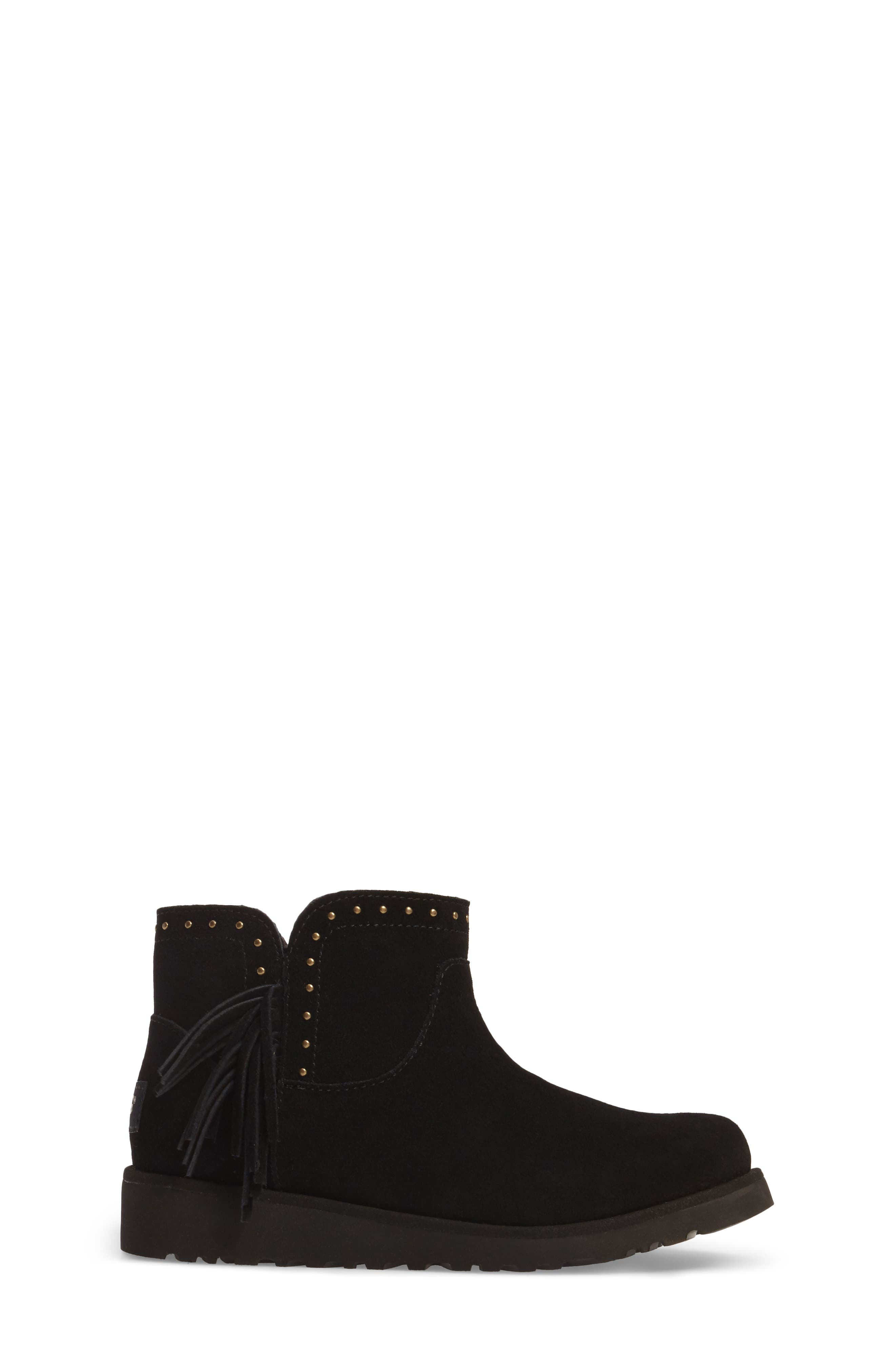 Cindy Water-Resistant Genuine Shearling Studded Bootie,                             Alternate thumbnail 3, color,                             001