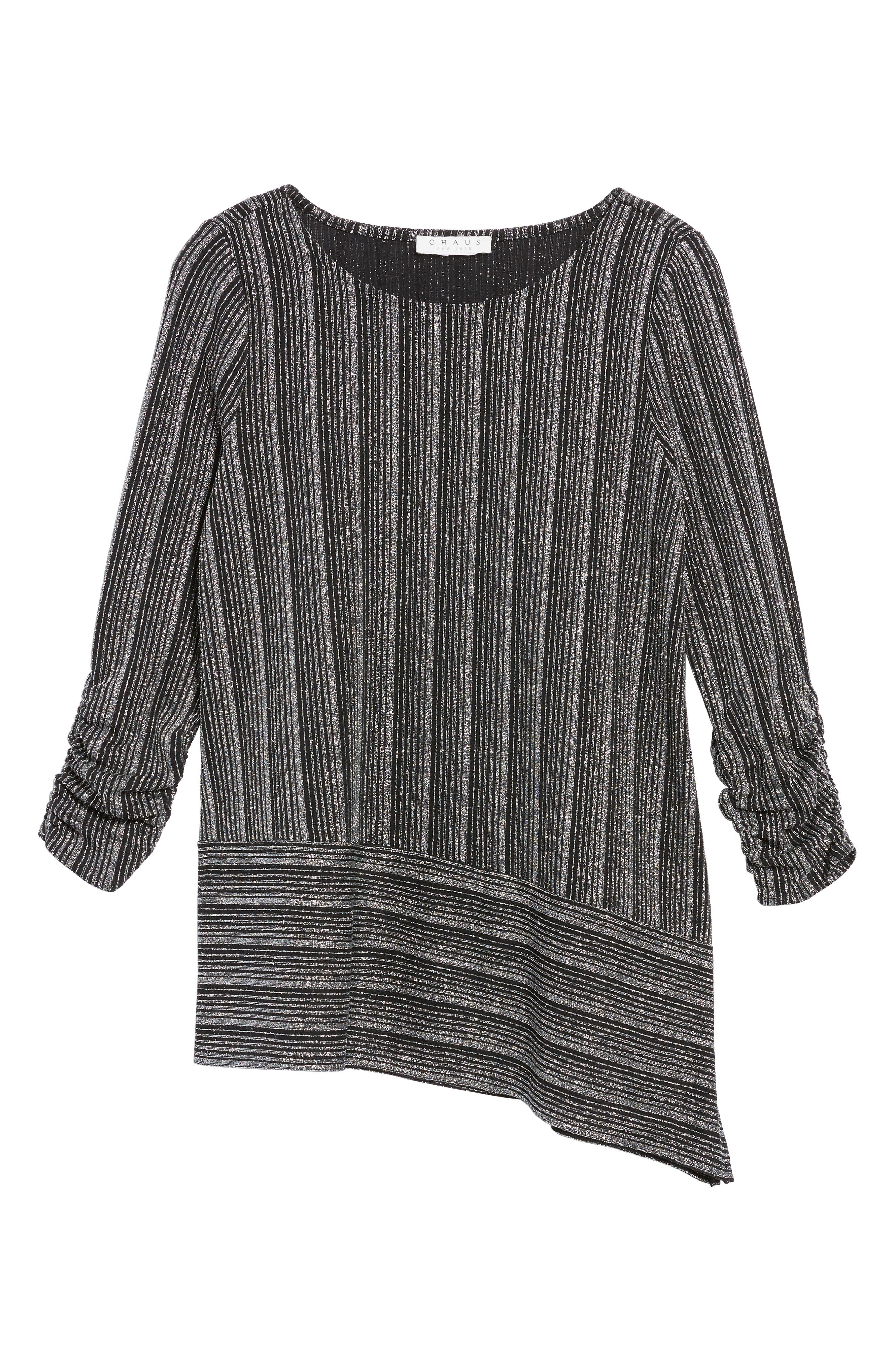 Metallic Stripe Asymmetrical Top,                             Alternate thumbnail 6, color,                             040