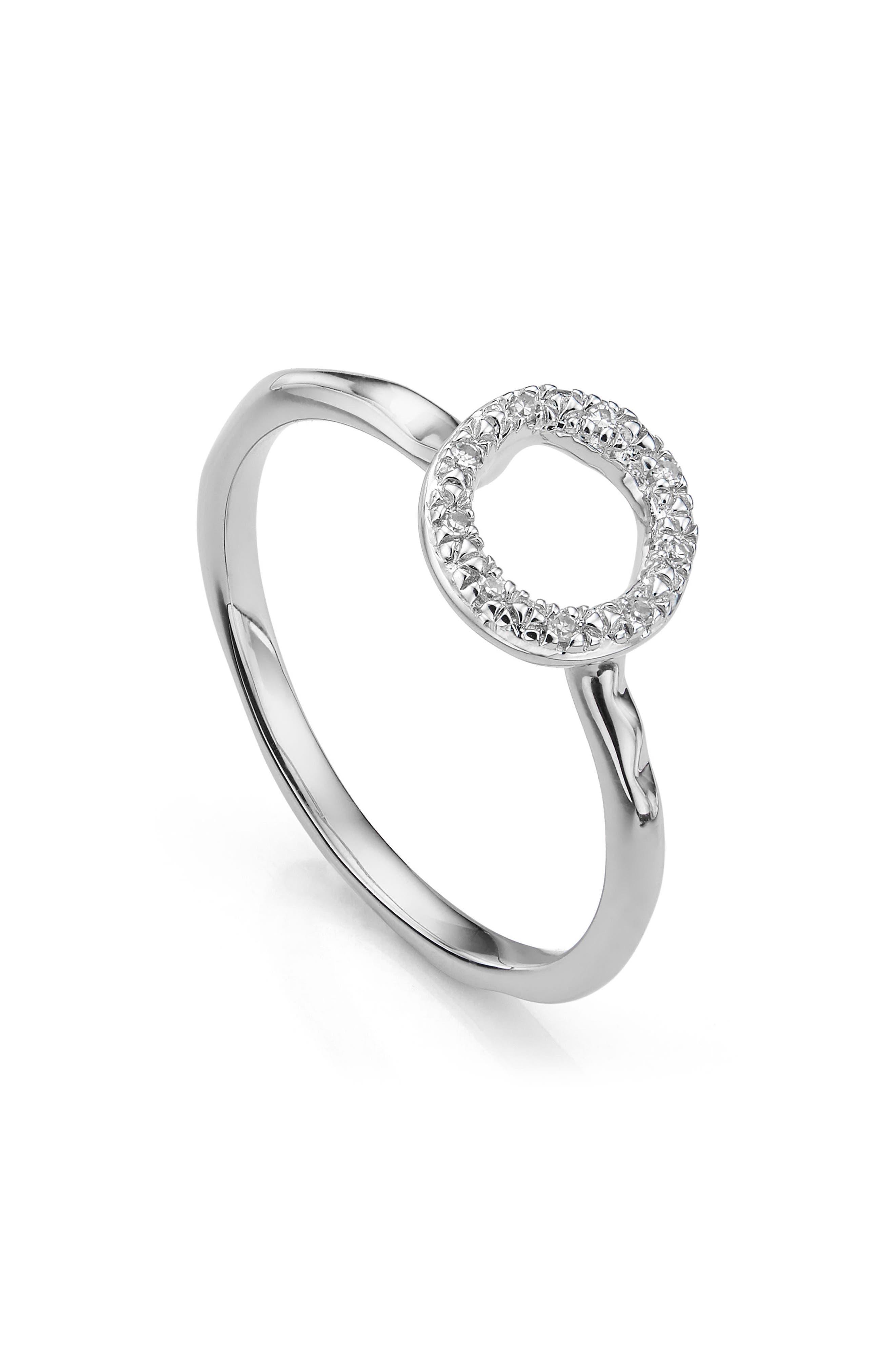 Riva Diamond Mini Circle Ring,                             Alternate thumbnail 2, color,                             SILVER/ DIAMOND