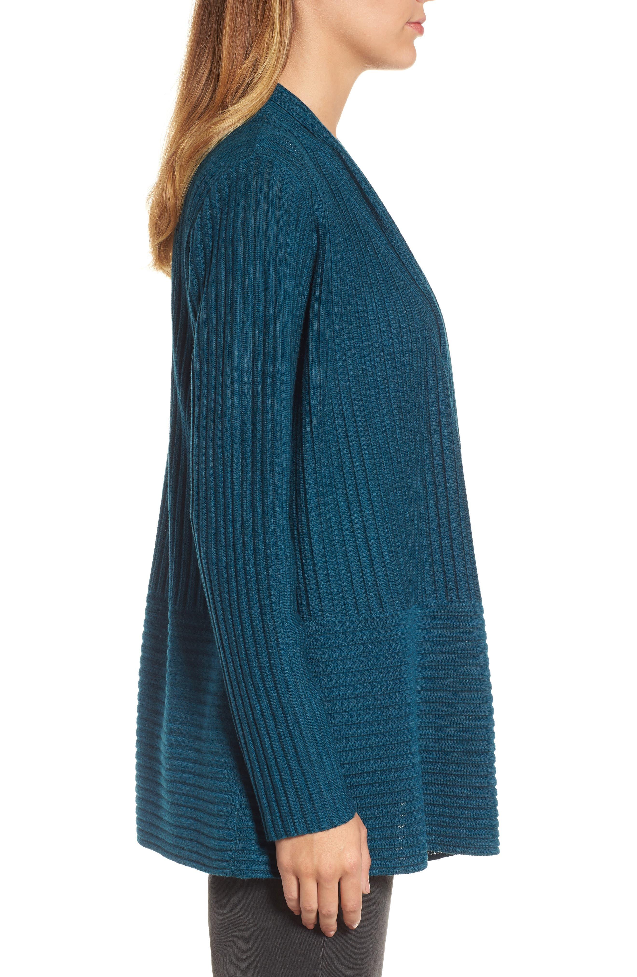 Ribbed Merino Wool Long Cardigan,                             Alternate thumbnail 16, color,