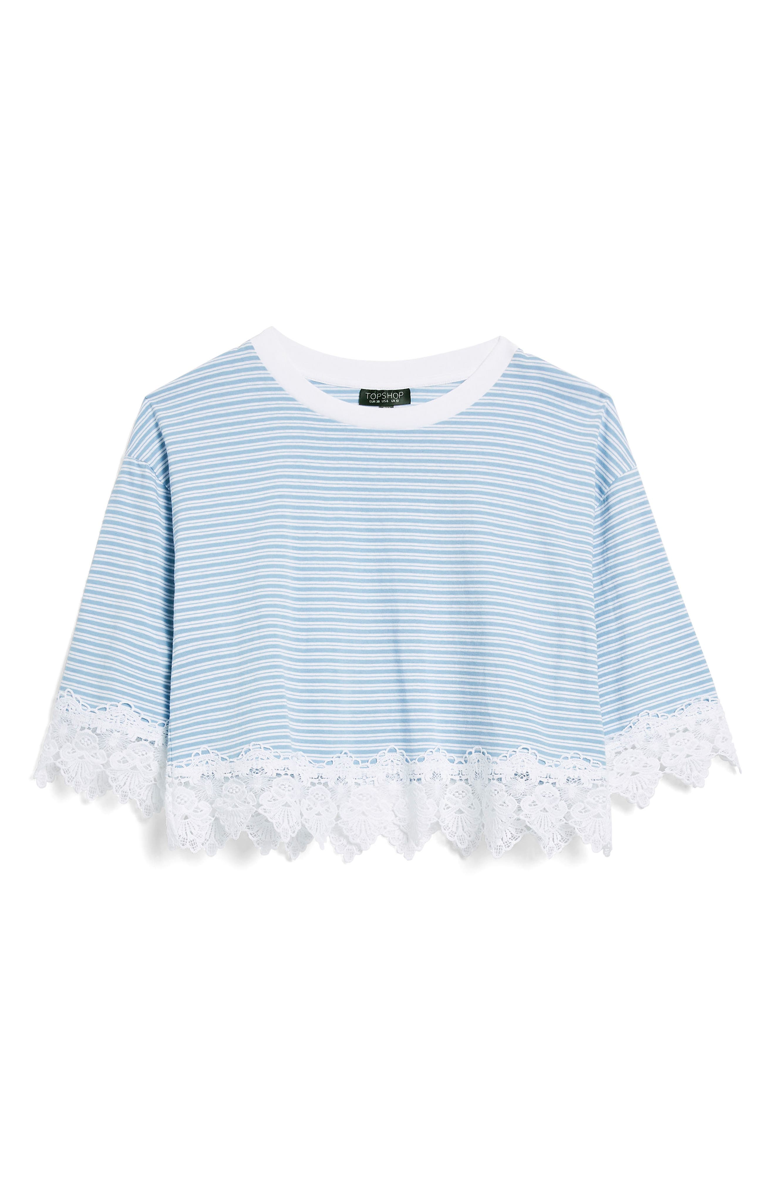 TOPSHOP,                             Stripe Lace Hem Crop Shirt,                             Alternate thumbnail 3, color,                             400