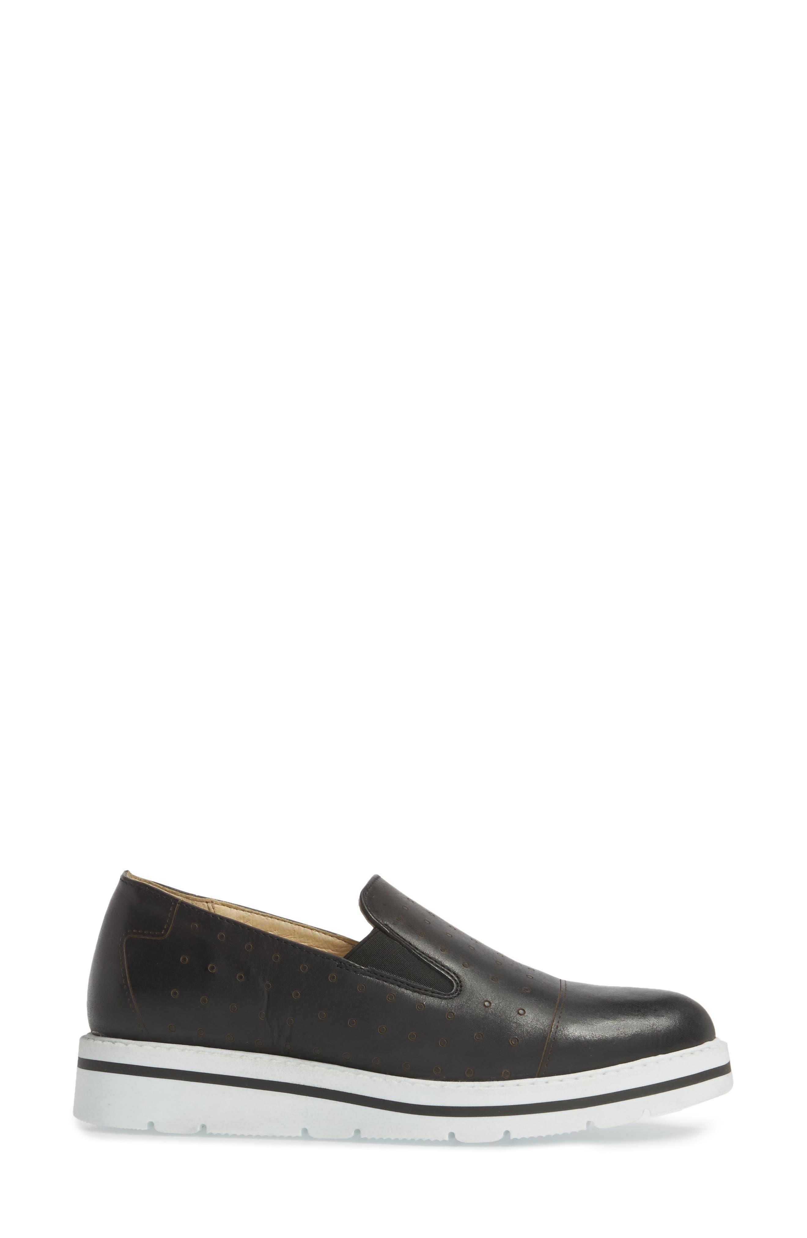 Leigh Slip-On Sneaker,                             Alternate thumbnail 3, color,                             BLACK GLAMOUR LEATHER