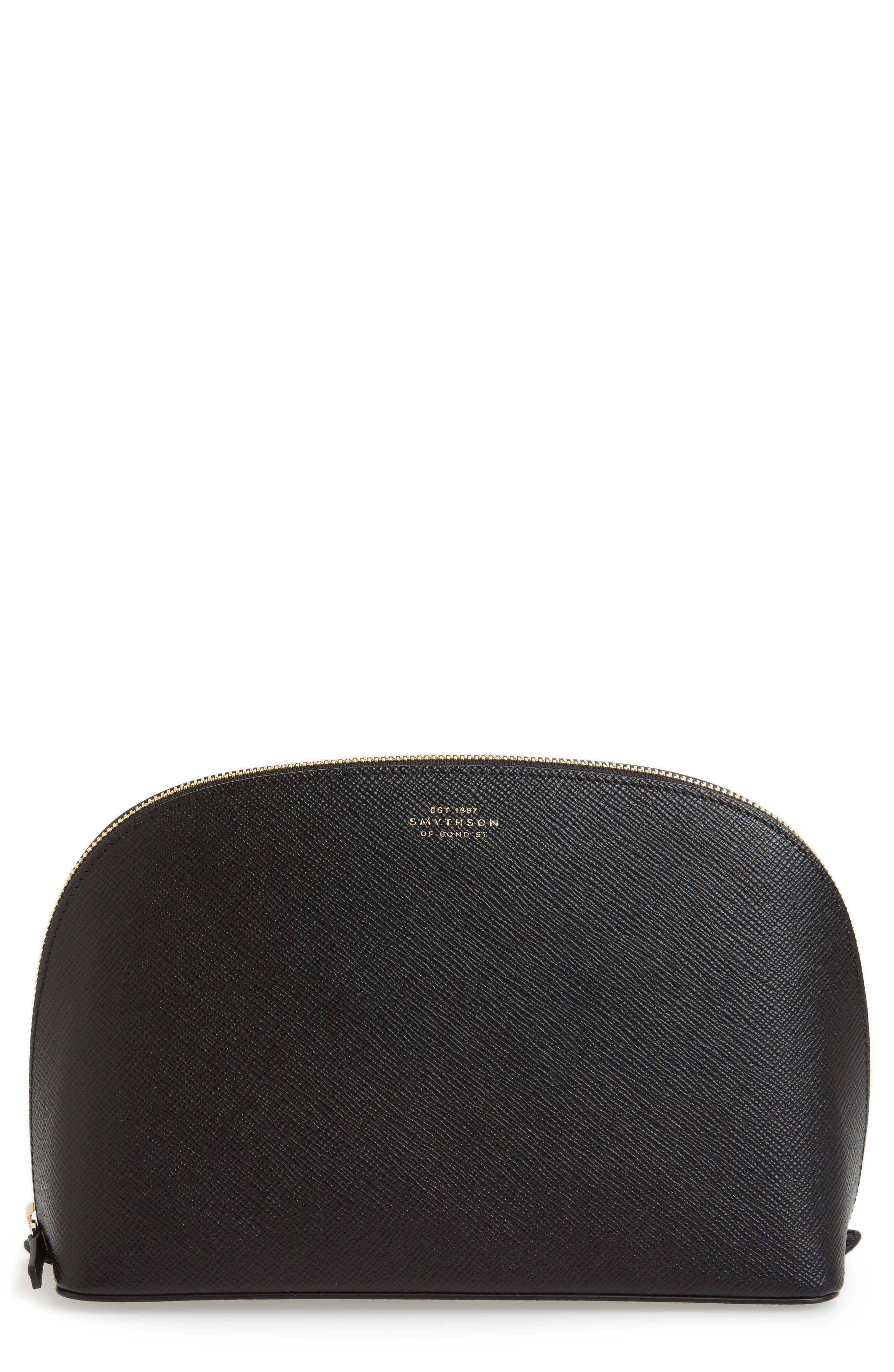 Medium Leather Cosmetics Bag,                             Main thumbnail 1, color,                             BLACK
