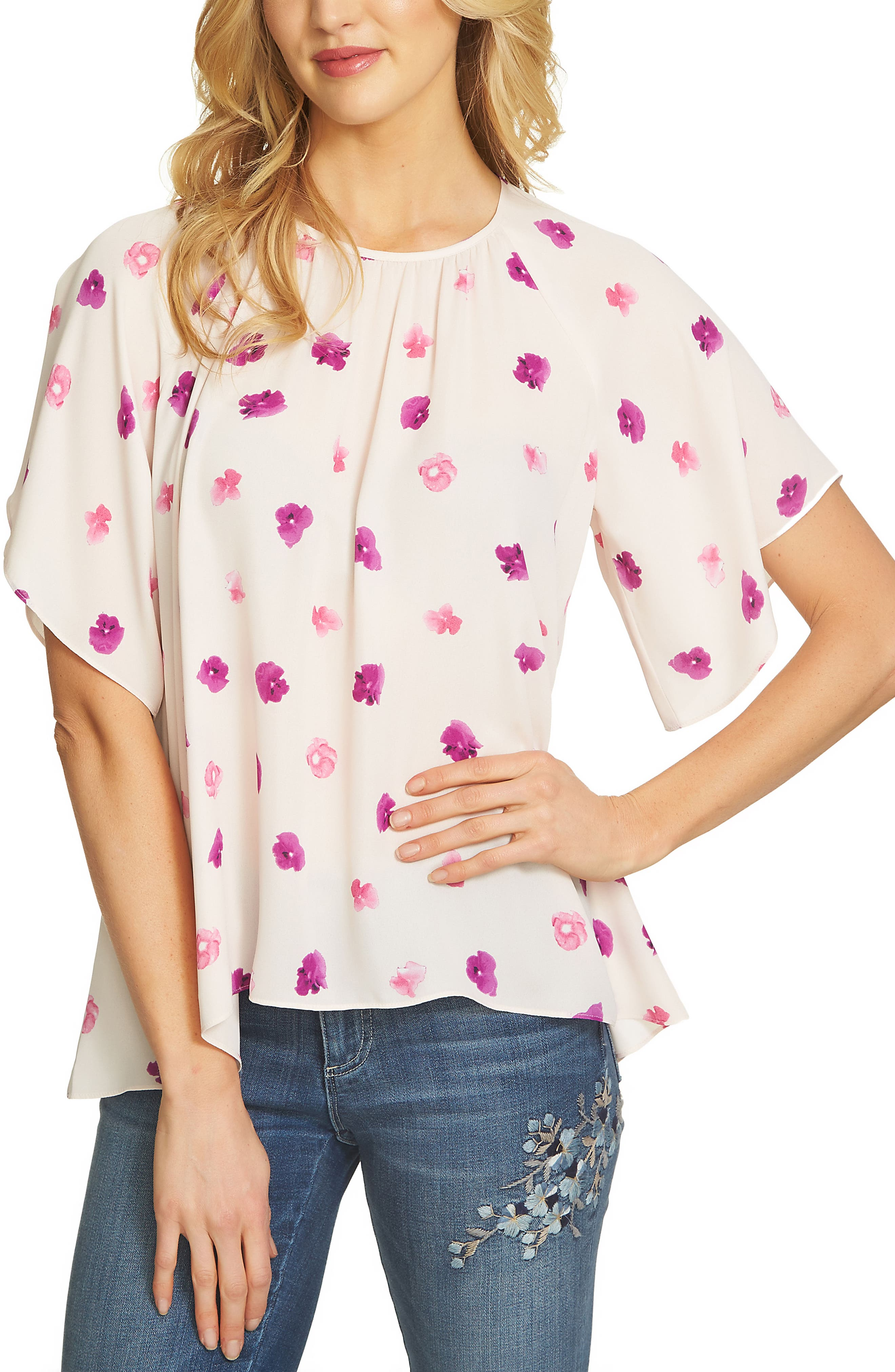 Petal Print Crepe Blouse,                         Main,                         color, 651