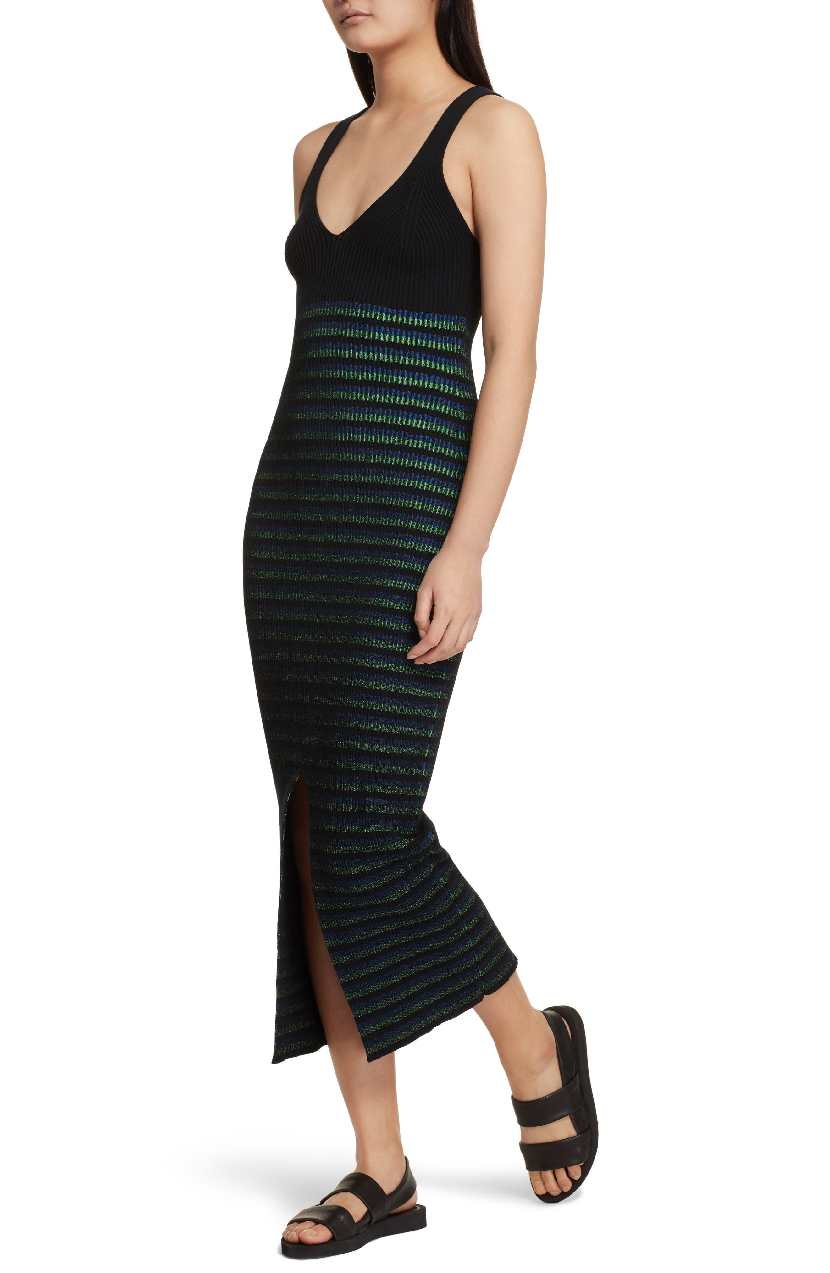 Ribbed Stripe Midi Dress,                             Alternate thumbnail 4, color,                             002