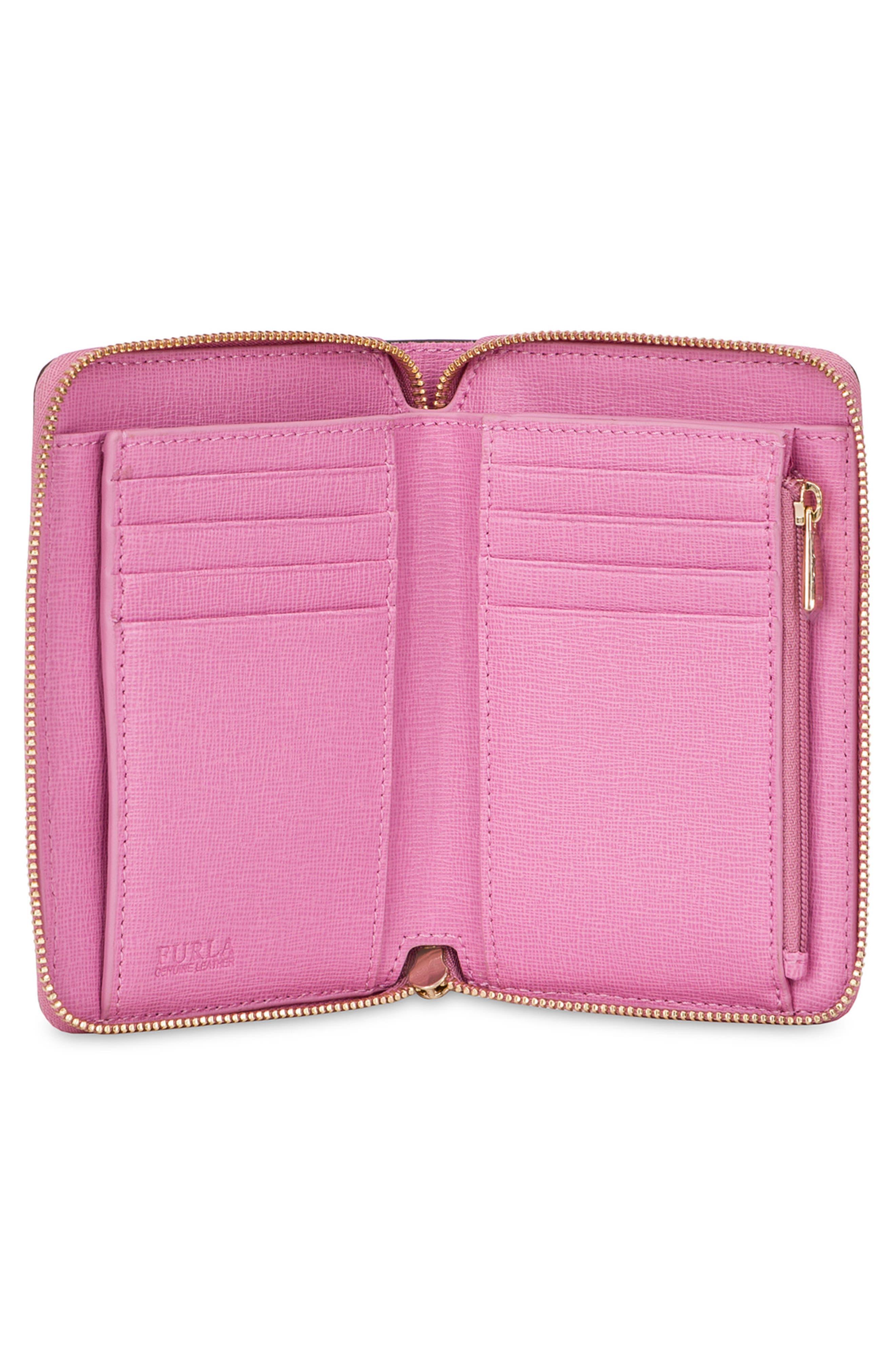 Medium Babylon Saffiano Leather Zip Around Wallet,                             Alternate thumbnail 5, color,