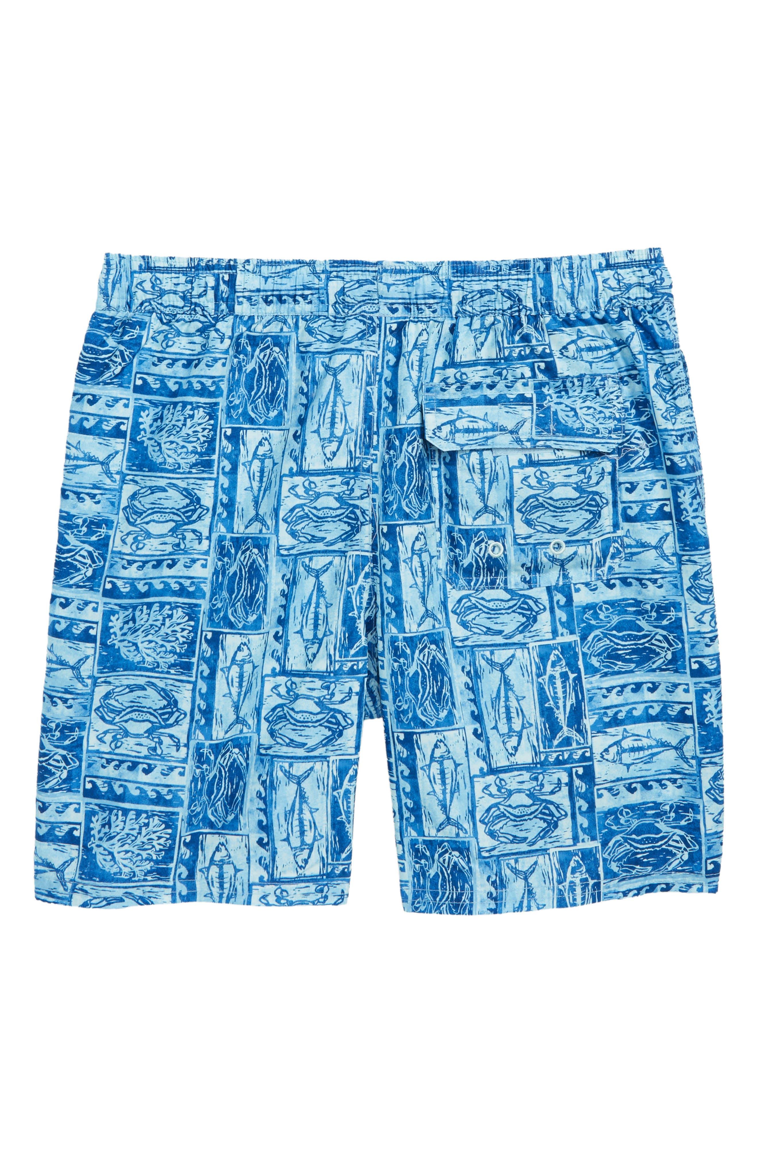 Chappy Woodblock Sea Life Swim Trunks,                             Alternate thumbnail 2, color,                             JAKE BLUE