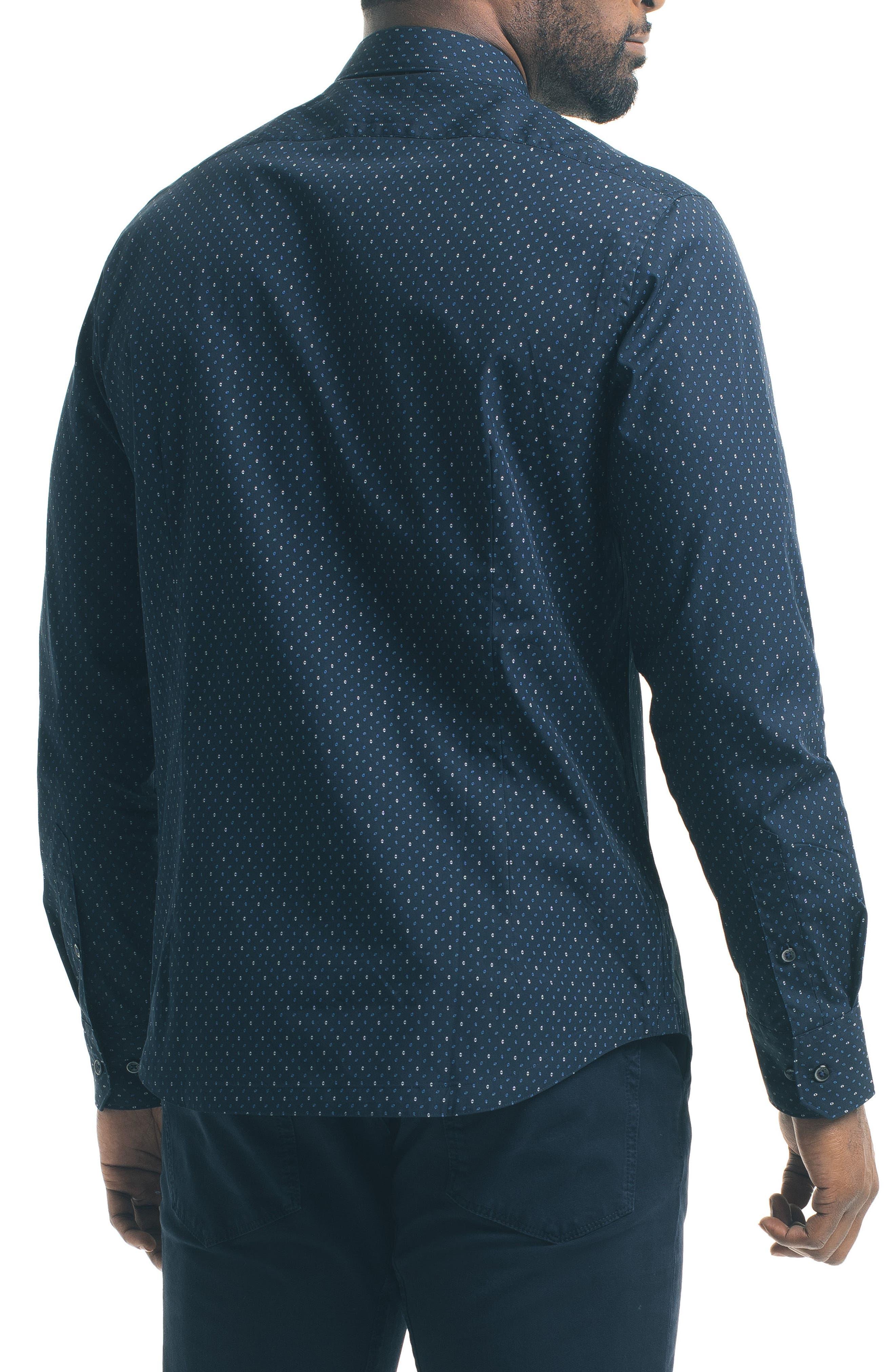 Slim Fit Diamond Print Sport Shirt,                             Alternate thumbnail 2, color,