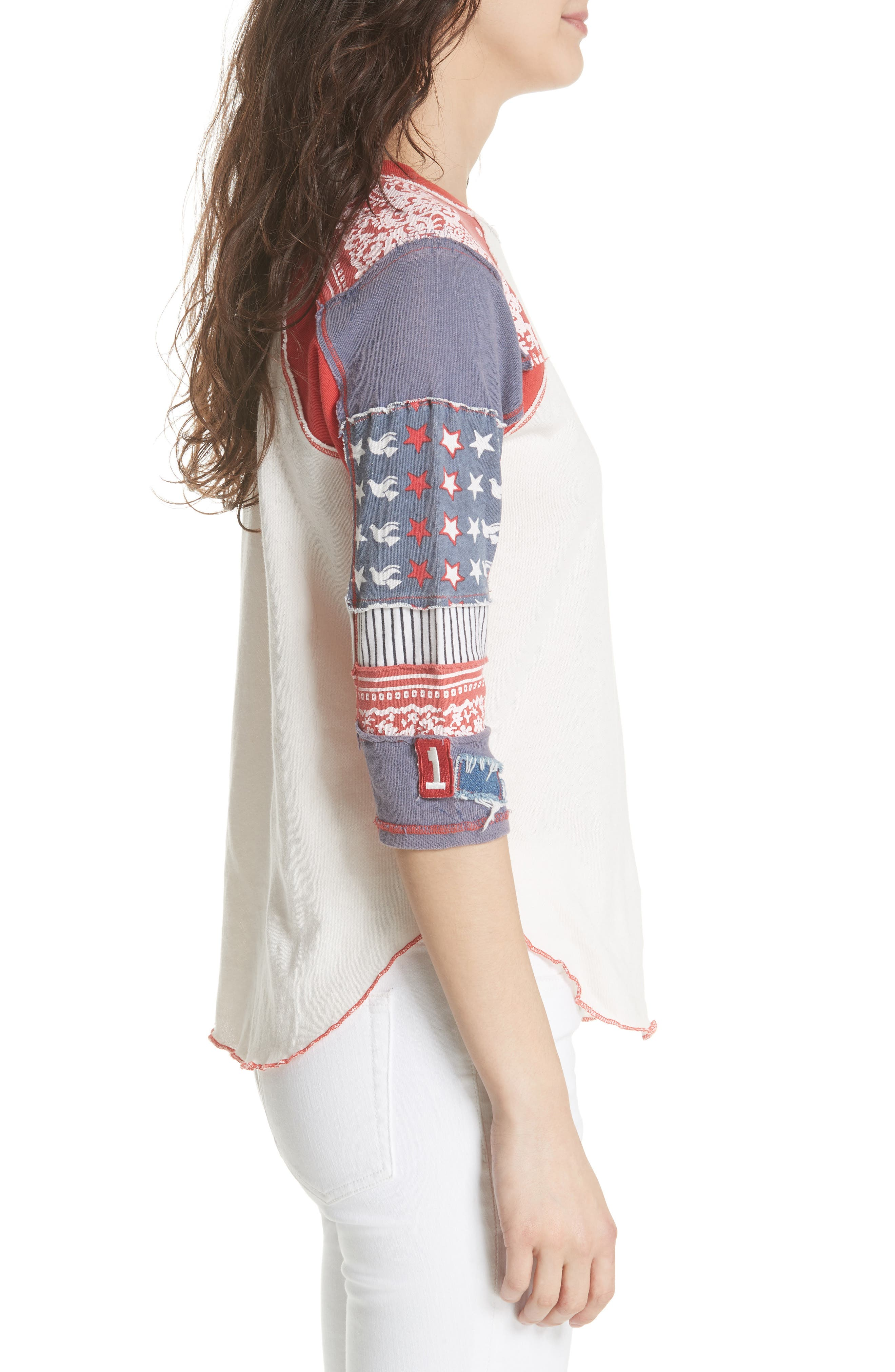 We the Free by Free People Bright Star Raglan Sleeve Tee,                             Alternate thumbnail 3, color,                             100