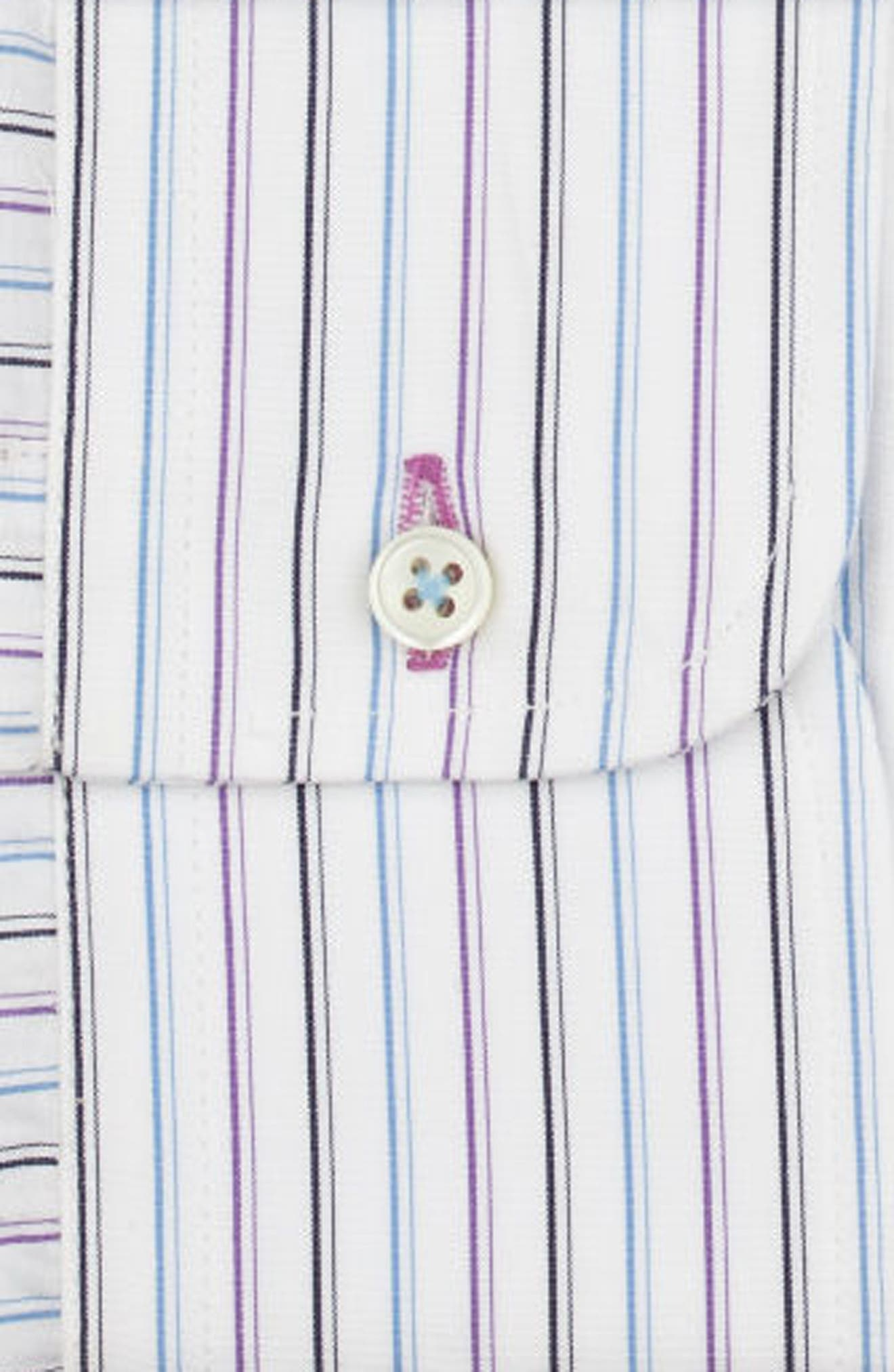 Regular Fit Stripe Dress Shirt,                             Alternate thumbnail 6, color,                             WHITE/ BLUE/ PURPLE