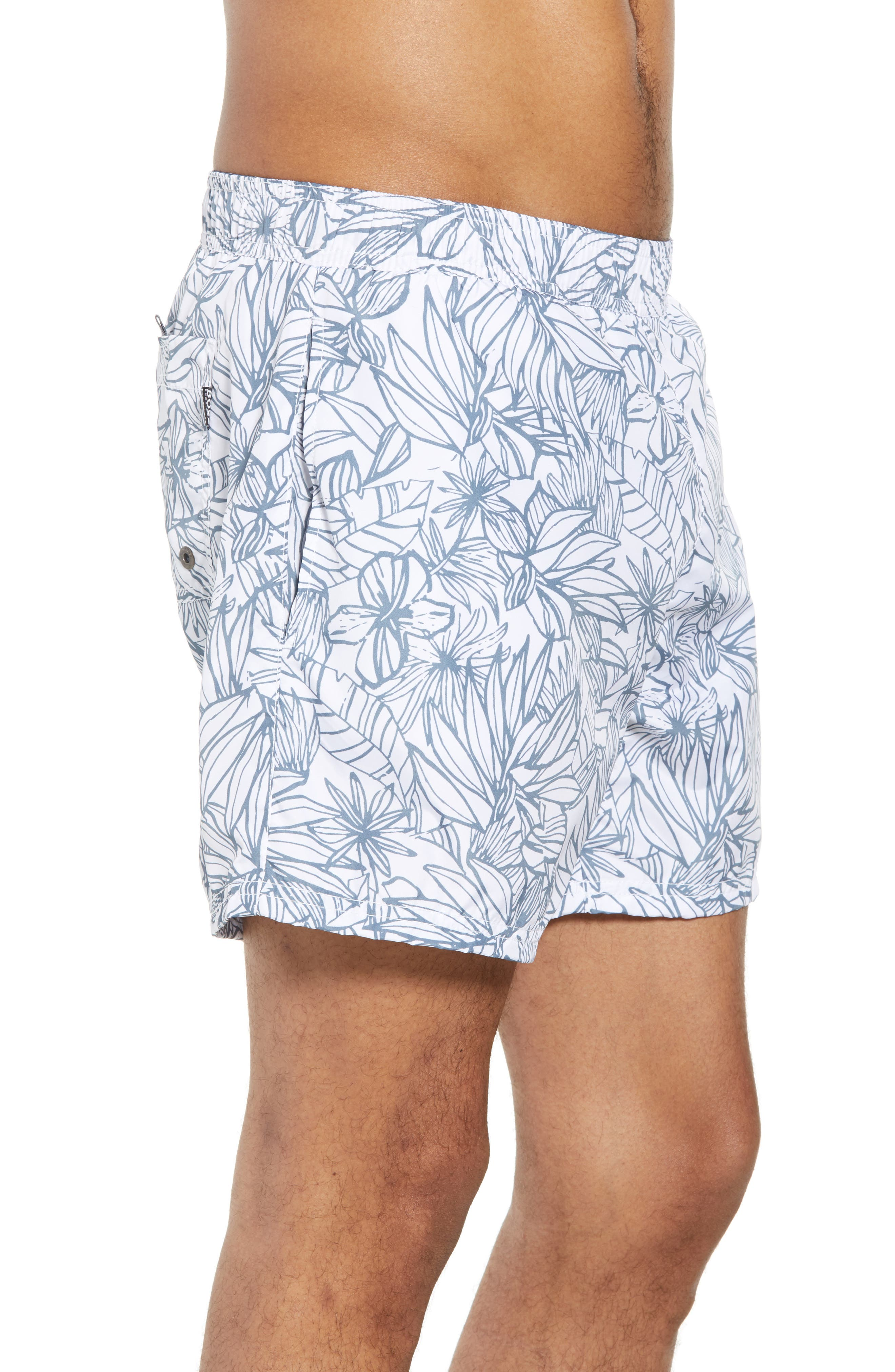 Needlefish Palm Swim Trunks,                             Alternate thumbnail 3, color,                             WHITE