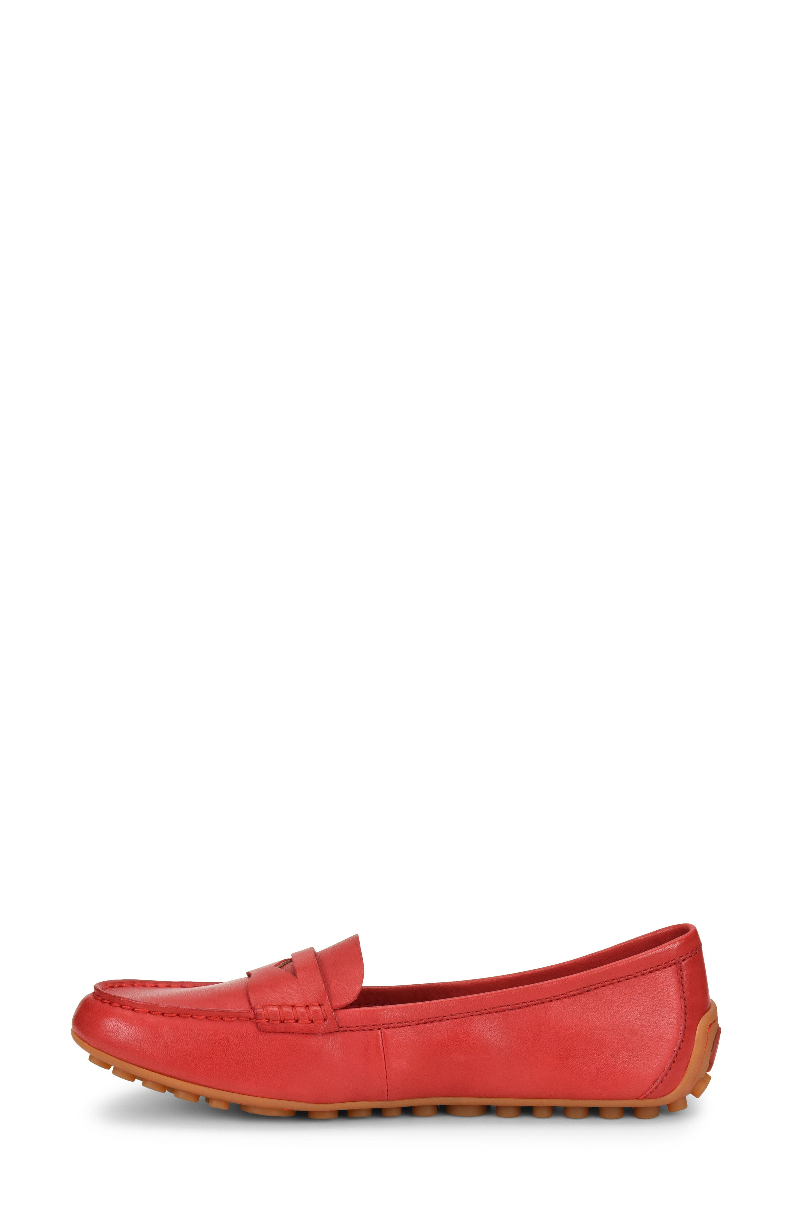 Malena Driving Loafer,                             Alternate thumbnail 3, color,                             RED LEATHER