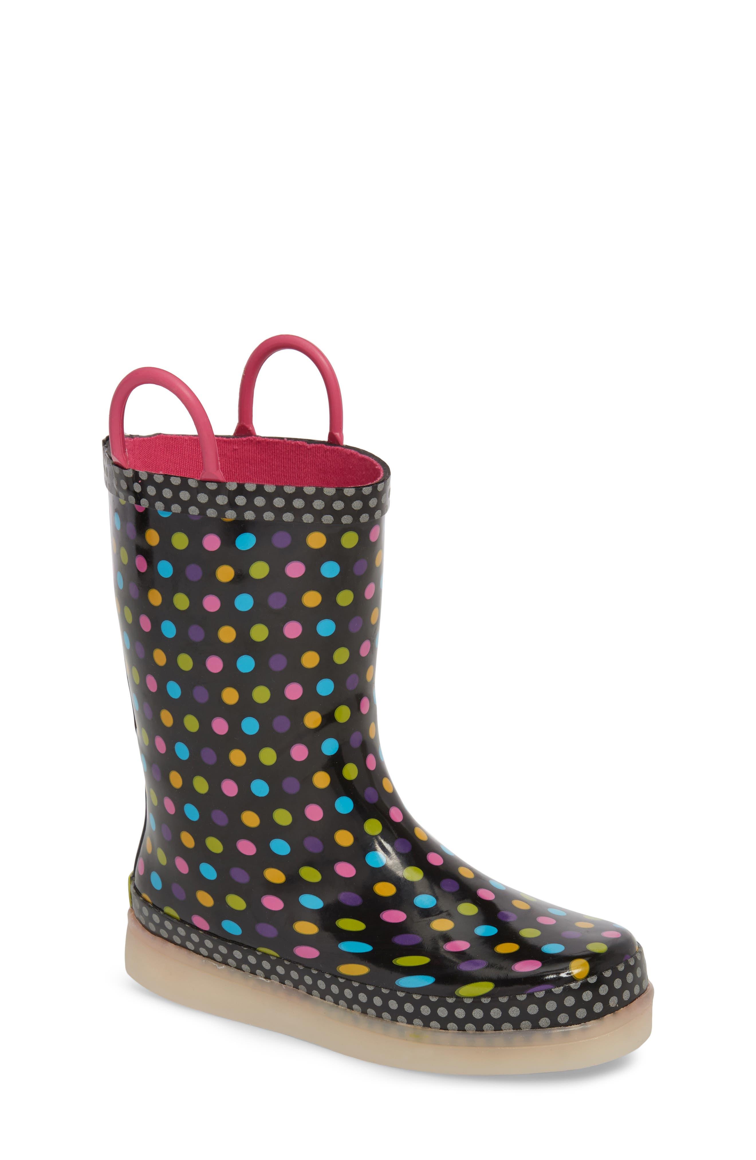 Digital Diva Dot LED Rain Boot,                             Main thumbnail 1, color,                             001