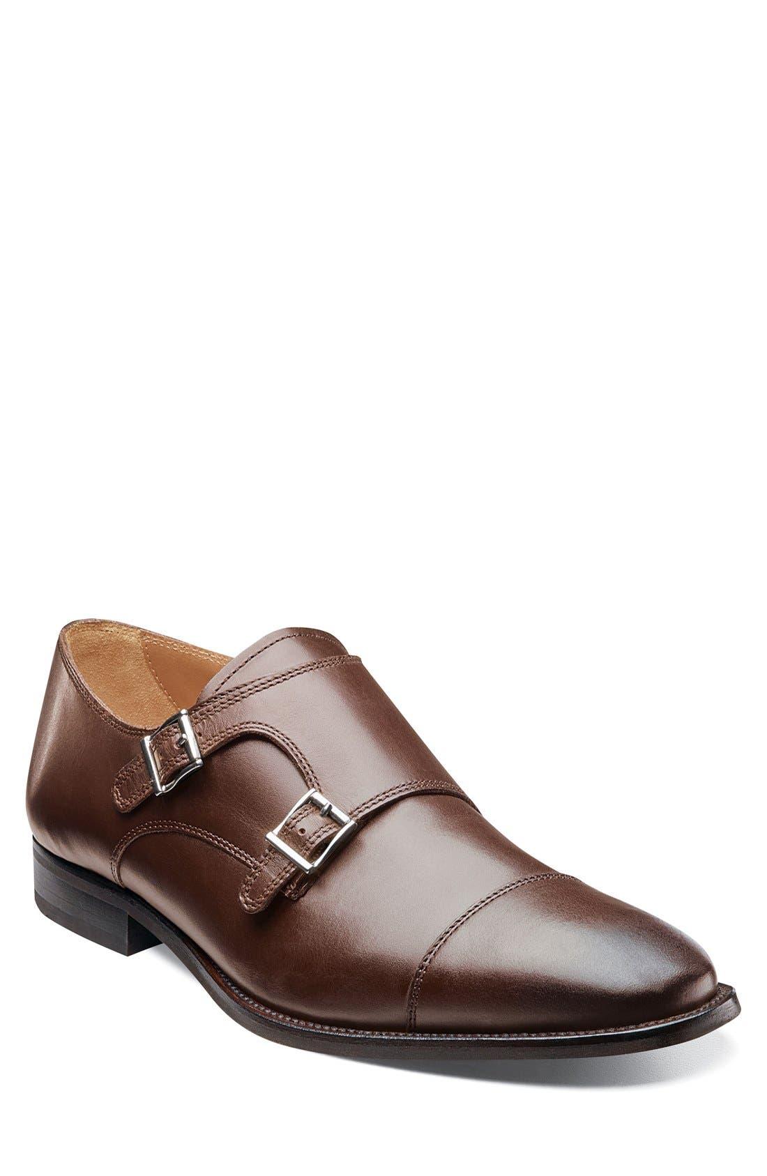 'Sabato' Double Monk Strap Shoe,                             Main thumbnail 1, color,                             BROWN