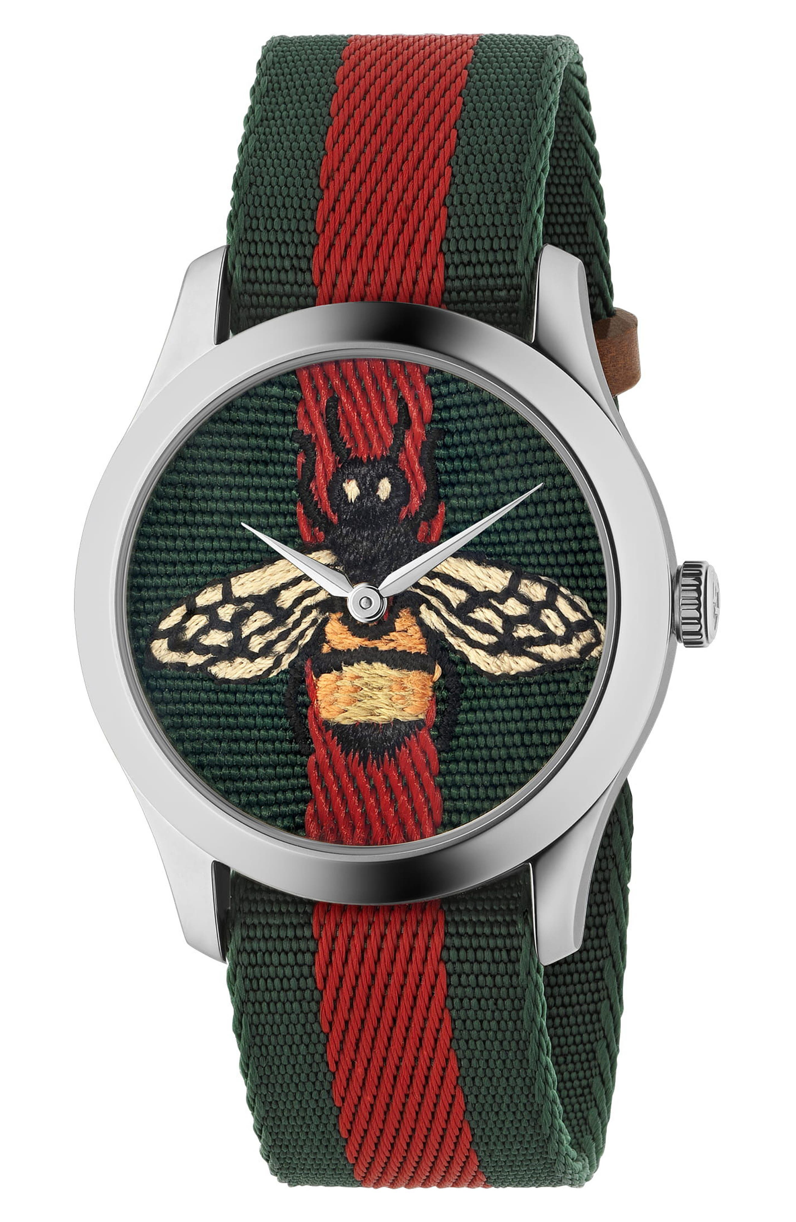 G-Timeless Nylon Strap Watch, 38mm, Main, color, GREEN/ RED/ SILVER