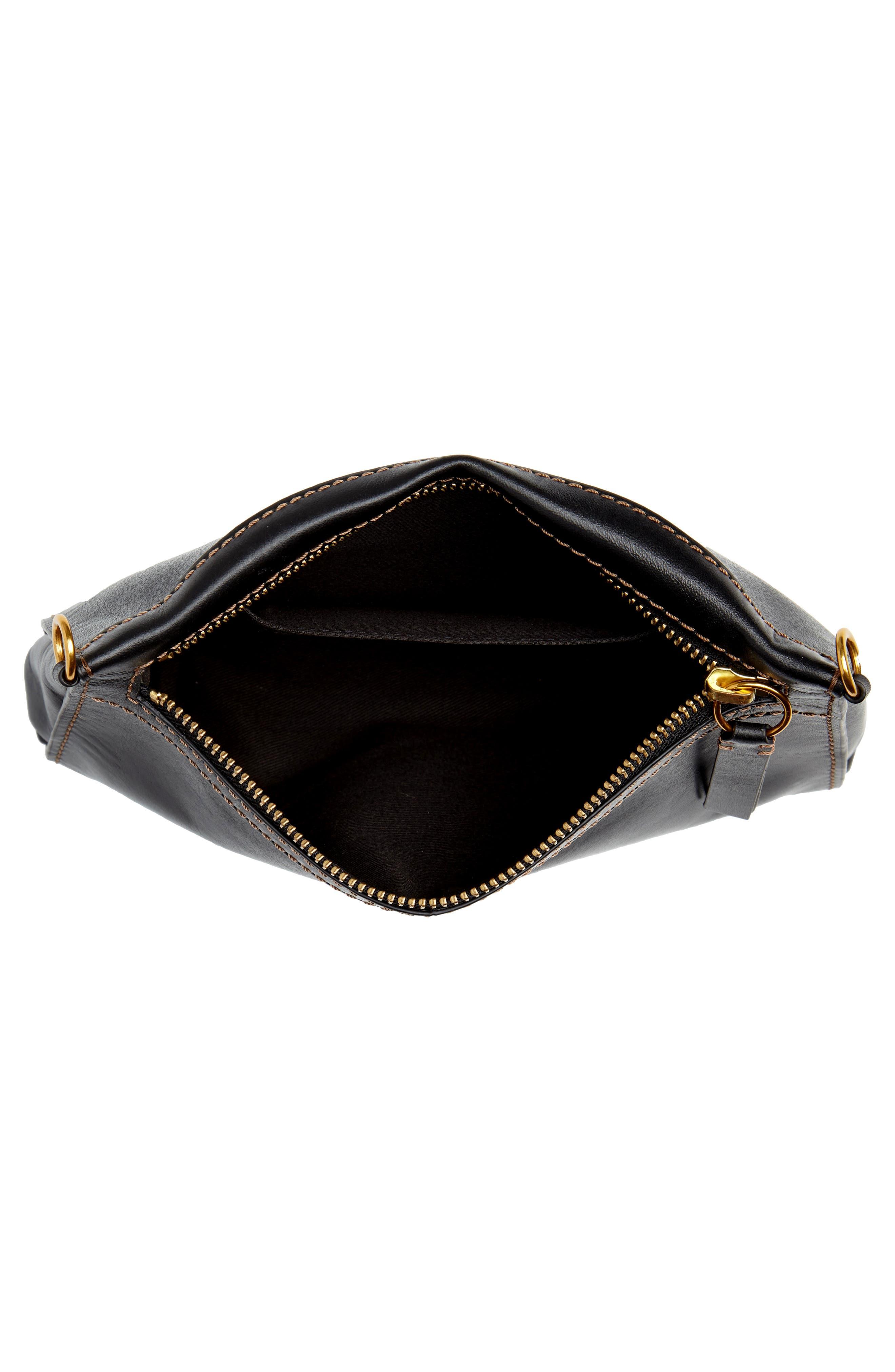 Carson Leather Wristlet/Clutch,                             Alternate thumbnail 4, color,                             BLACK