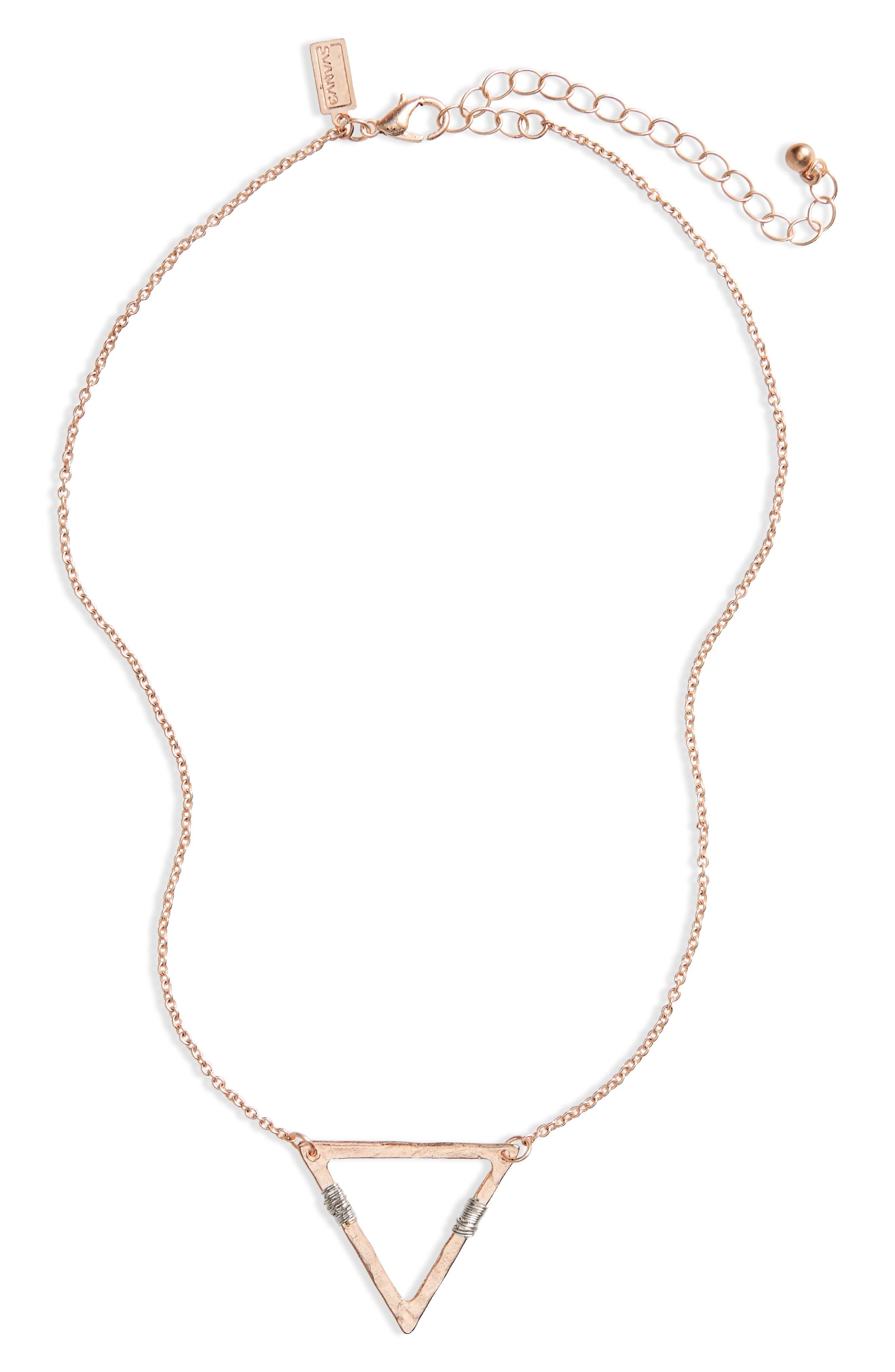 Wire Wrap Triangle Pendant Necklace,                             Main thumbnail 1, color,                             710