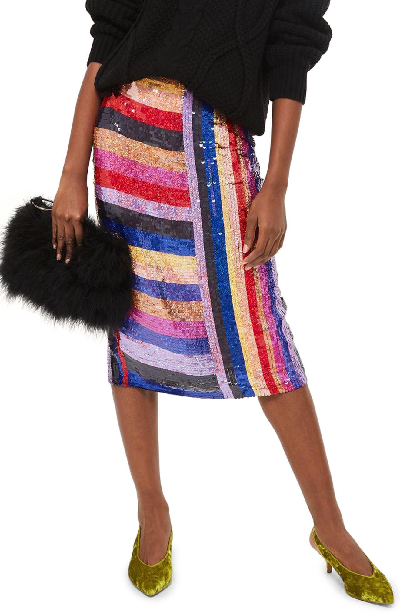 Premium Rainbow Sequin Midi Skirt,                             Main thumbnail 1, color,                             400