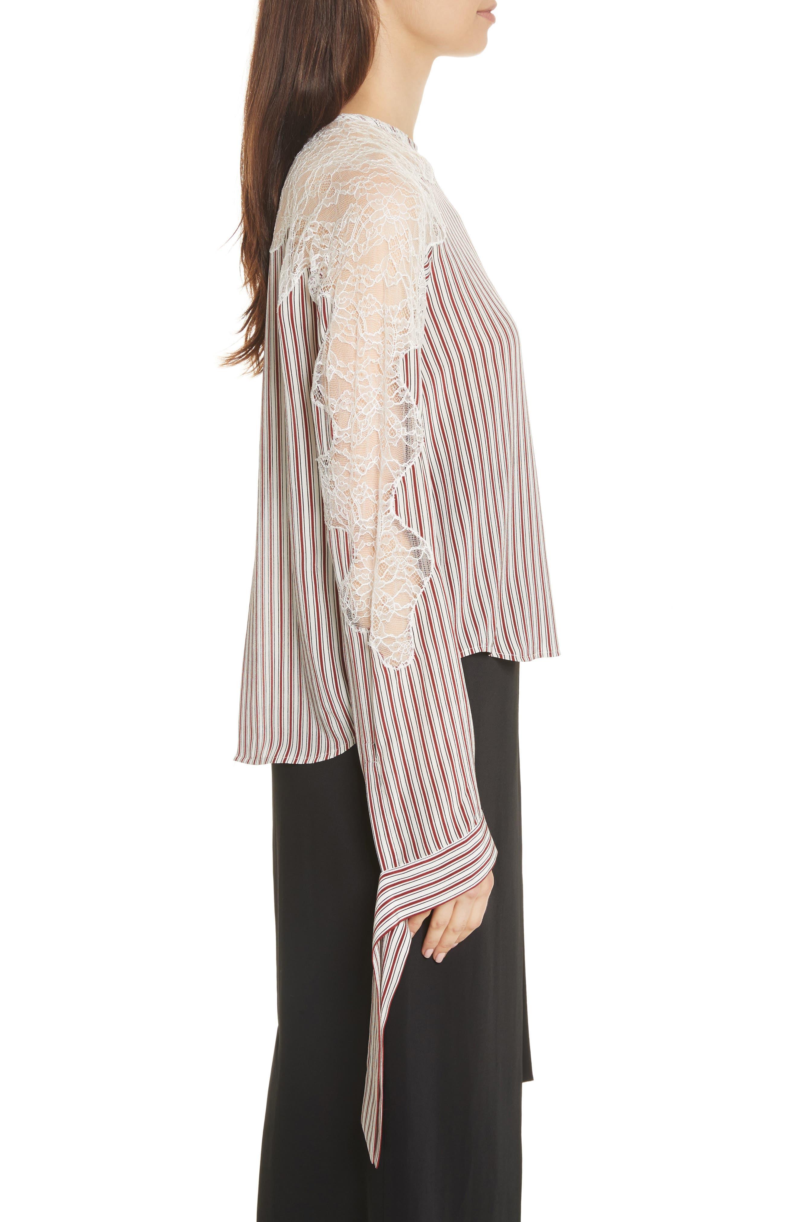 Lace Inset Stripe Blouse,                             Alternate thumbnail 3, color,
