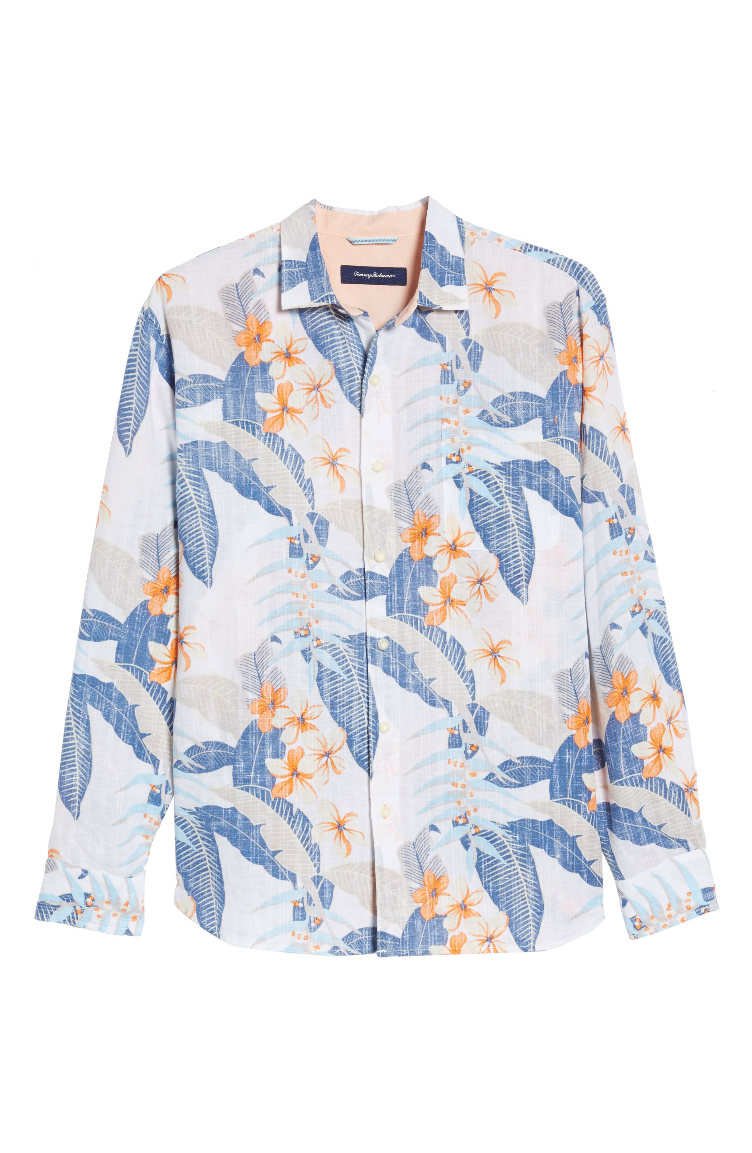 Liviea Leaves Linen Blend Camp Shirt,                             Alternate thumbnail 6, color,                             100