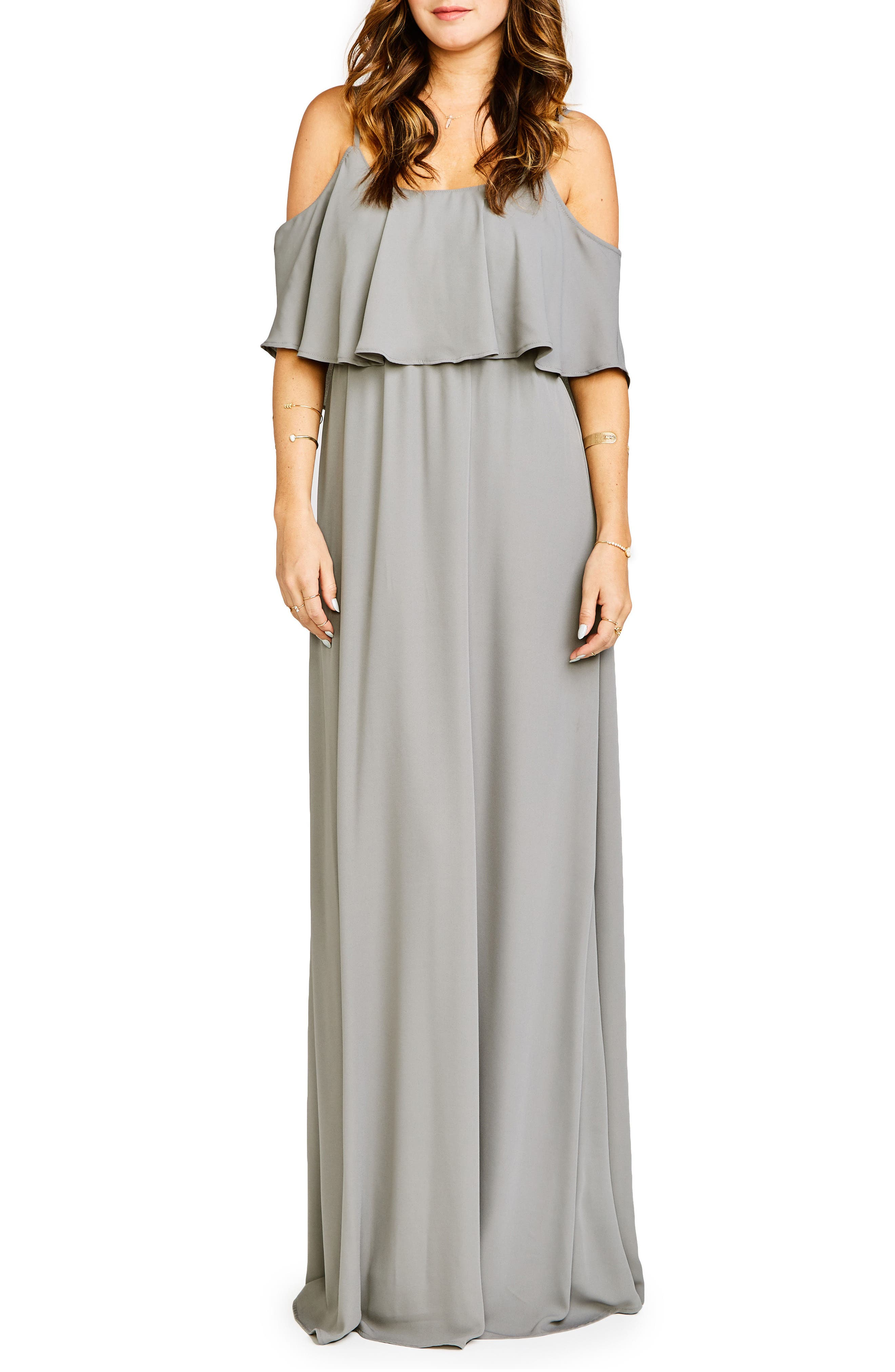 Caitlin Cold Shoulder Chiffon Gown,                             Alternate thumbnail 27, color,