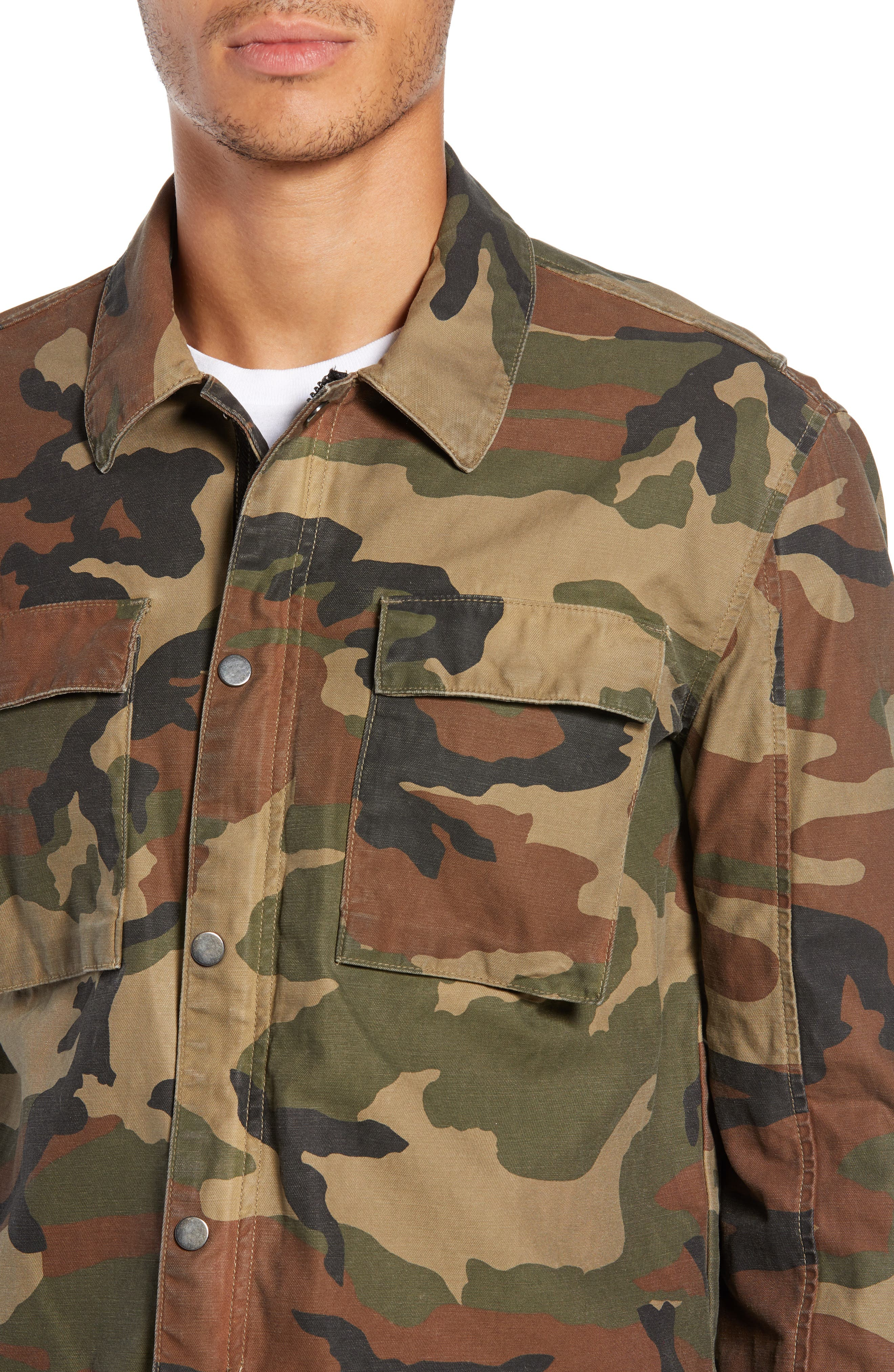 Wendell Slim Fit Camo Shirt Jacket,                             Alternate thumbnail 4, color,                             340